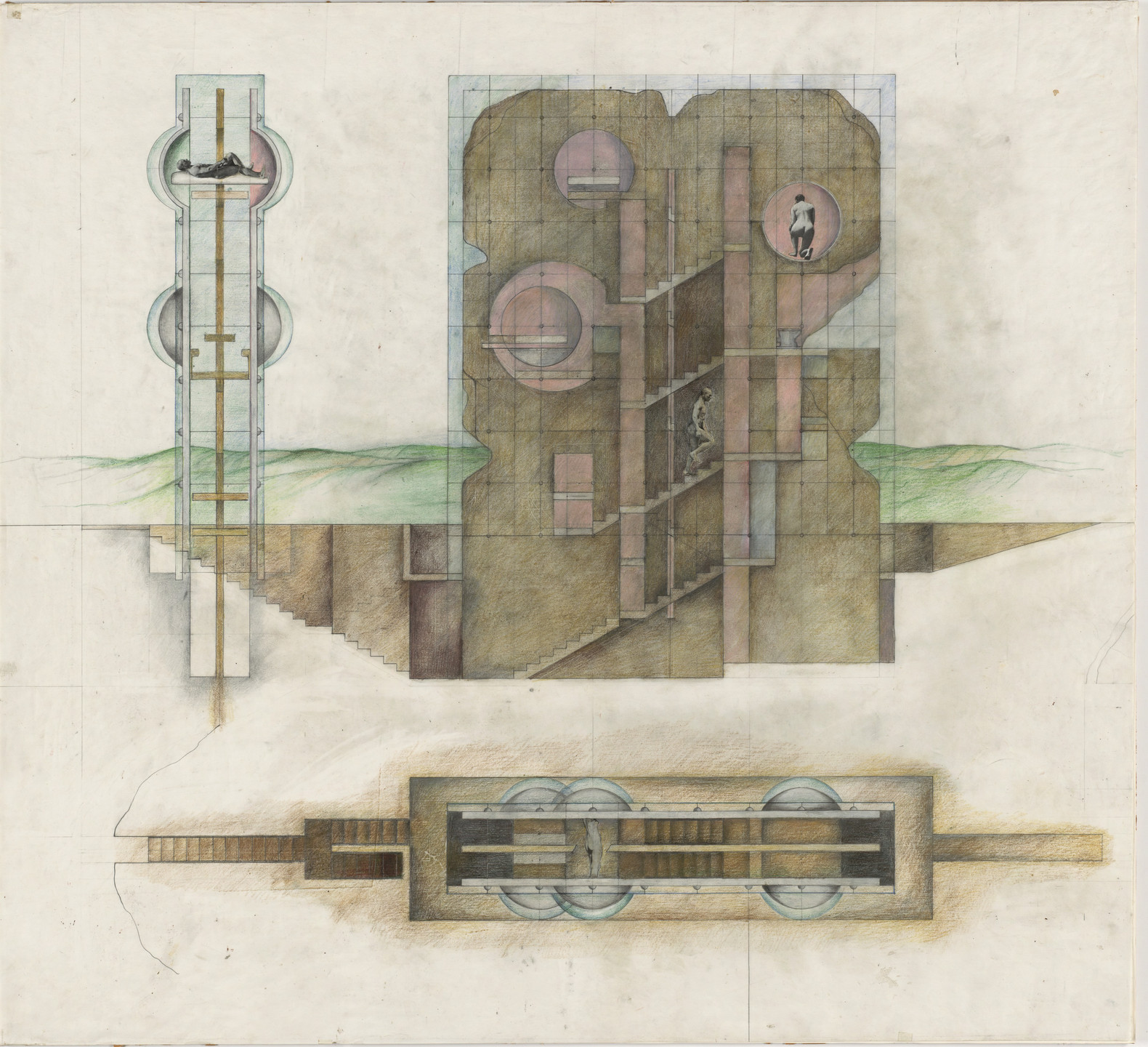 Raimund Abraham. The House without Rooms Project, Elevation and plan. 1974