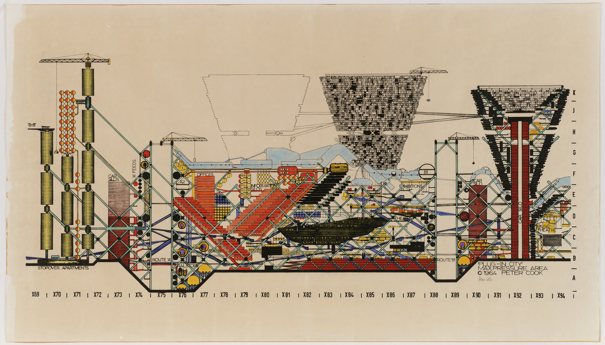 Peter Cook. Plug-in City: Maximum Pressure Area, project (Section). 1964