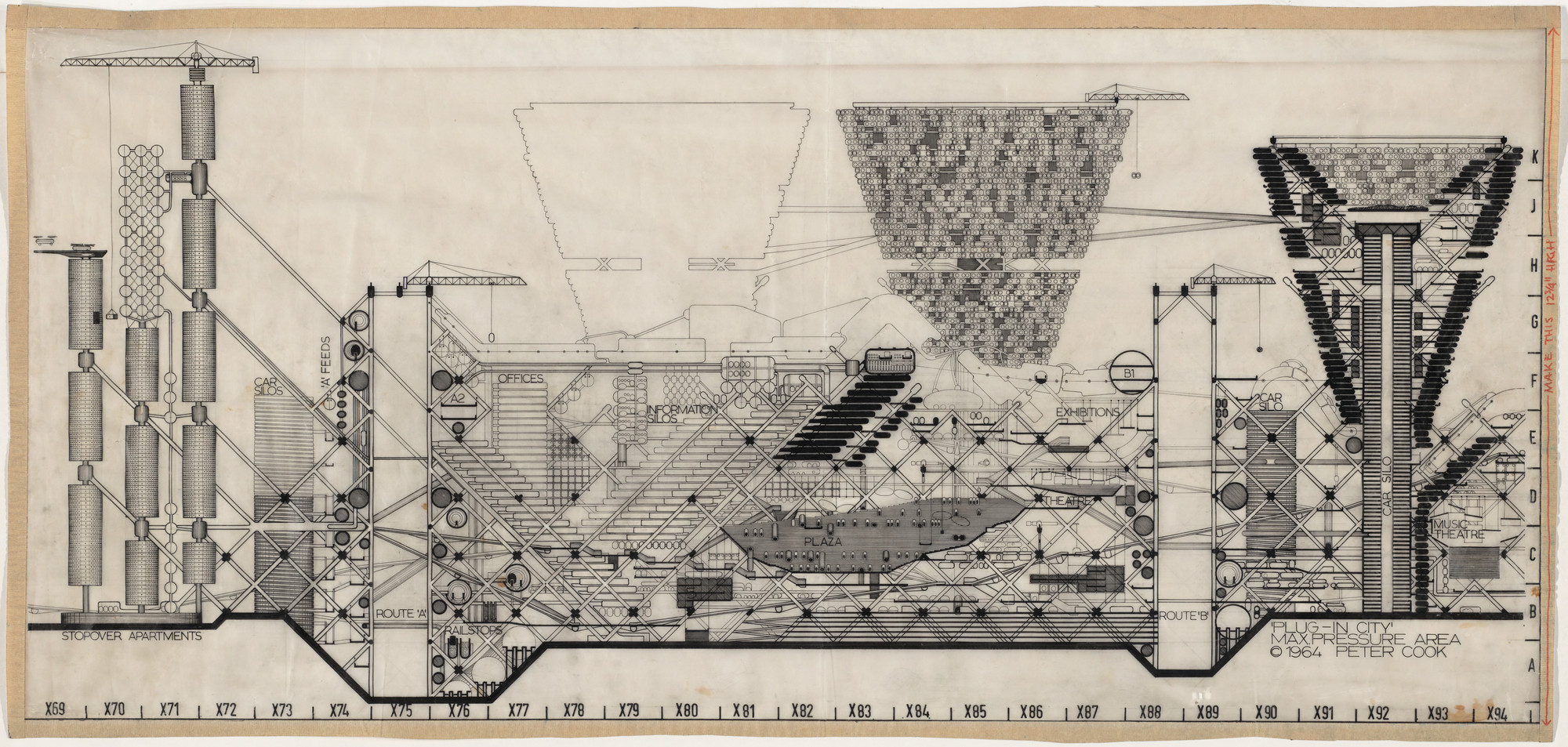 Peter Cook. Plug-in City: Maximum Pressure Area, project, Section. 1964
