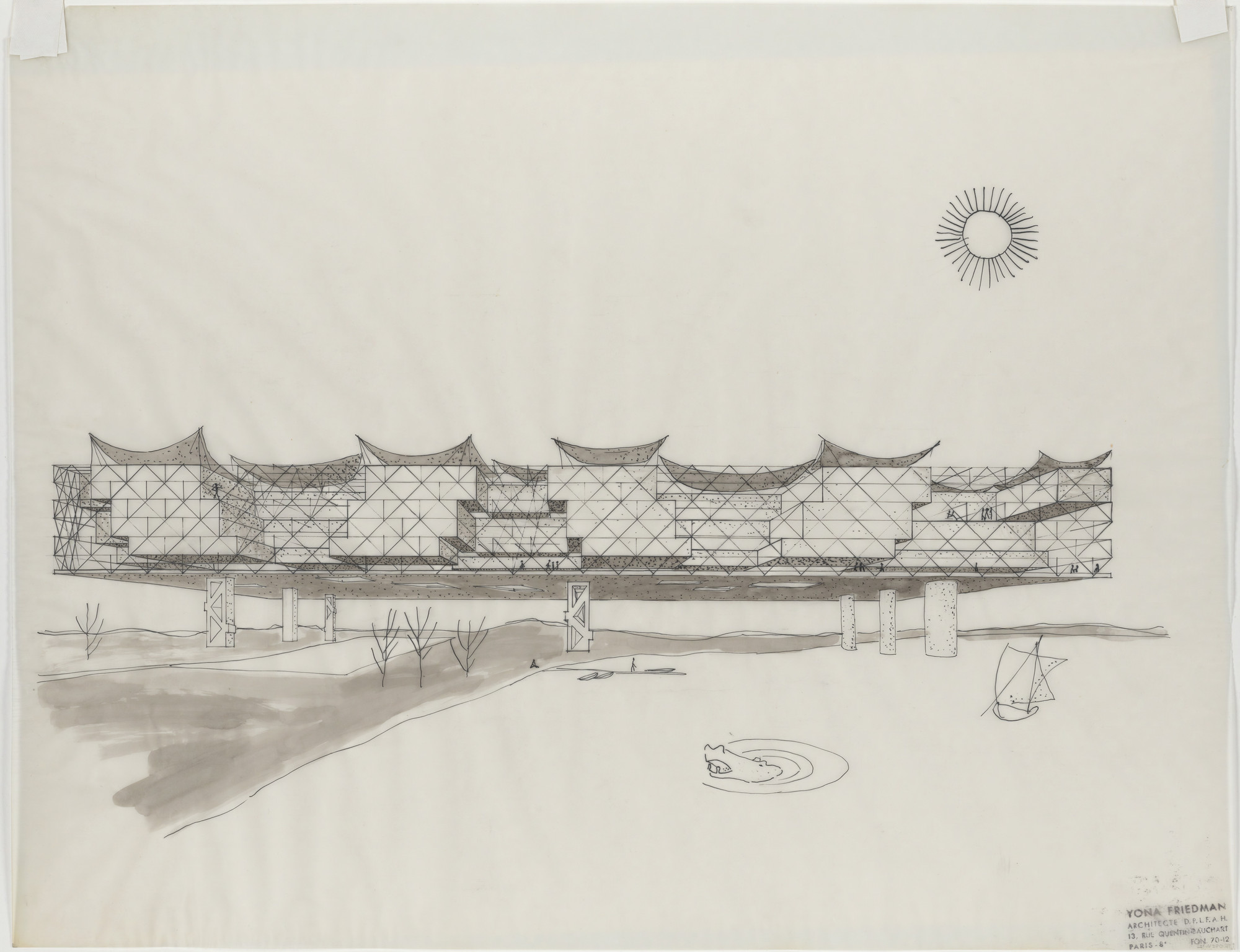 Yona Friedman. African Proposals, project, Perspective. 1959