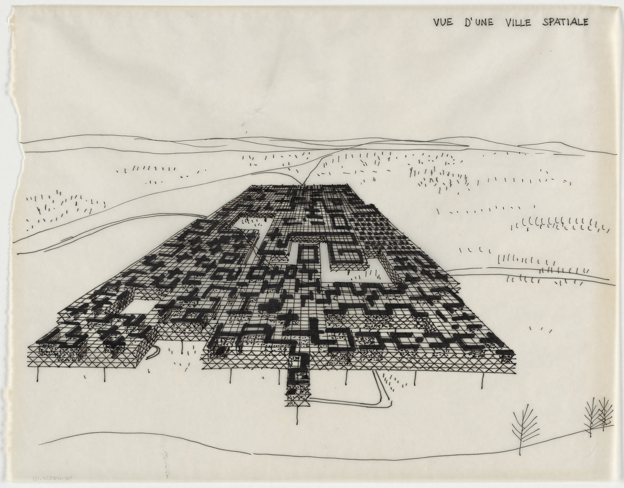 Yona Friedman. Spatial City, project, Aerial perspective. 1958