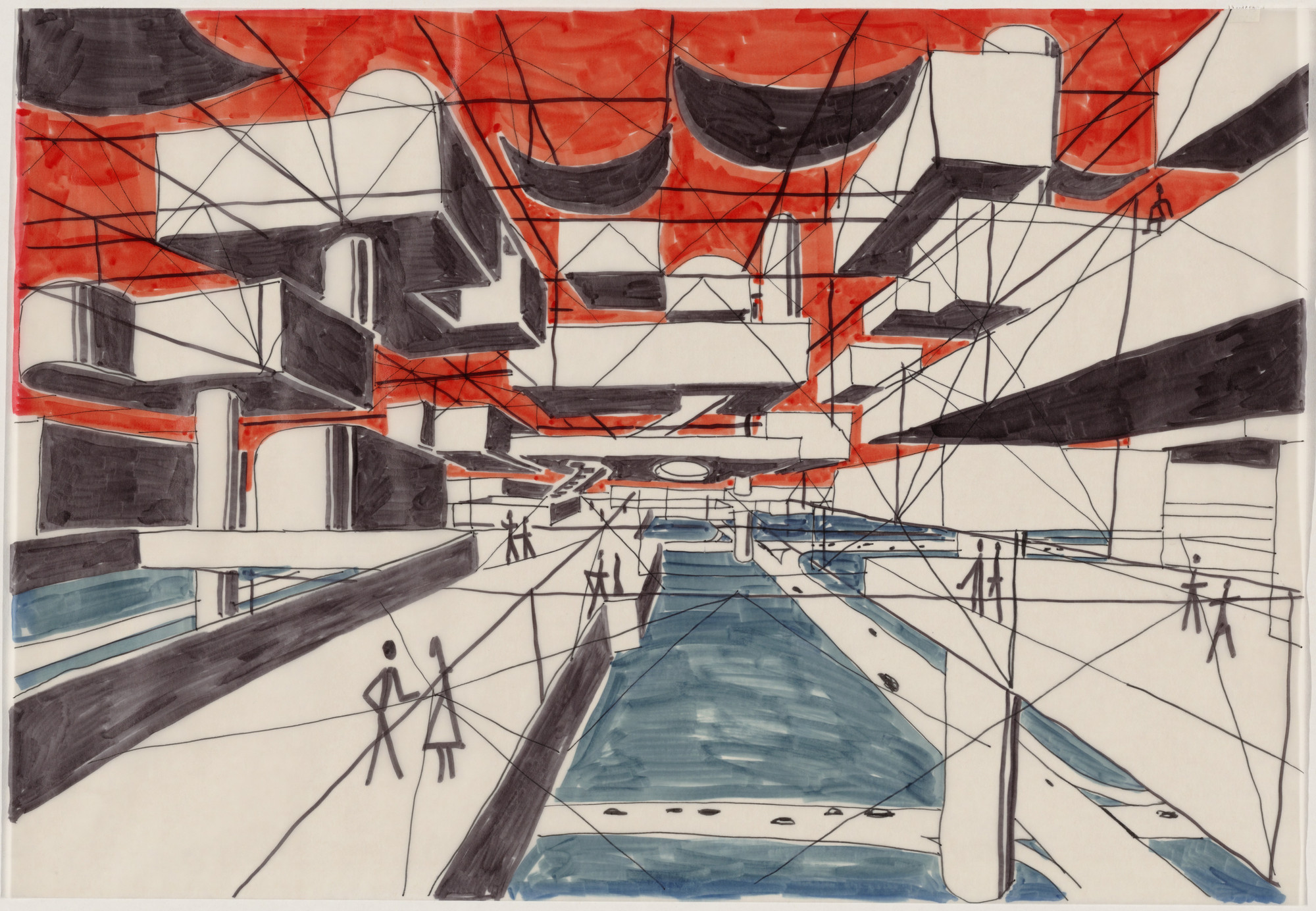 Yona Friedman. Spatial City, project, Perspective. 1958-59