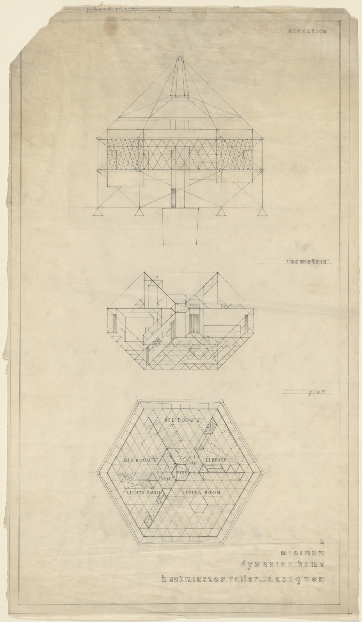 R Buckminster Fuller A Minimum Dymaxion Home Project Elevation Plan Wiring Drawing On Pinterest Car Audio Axonometric And 1927