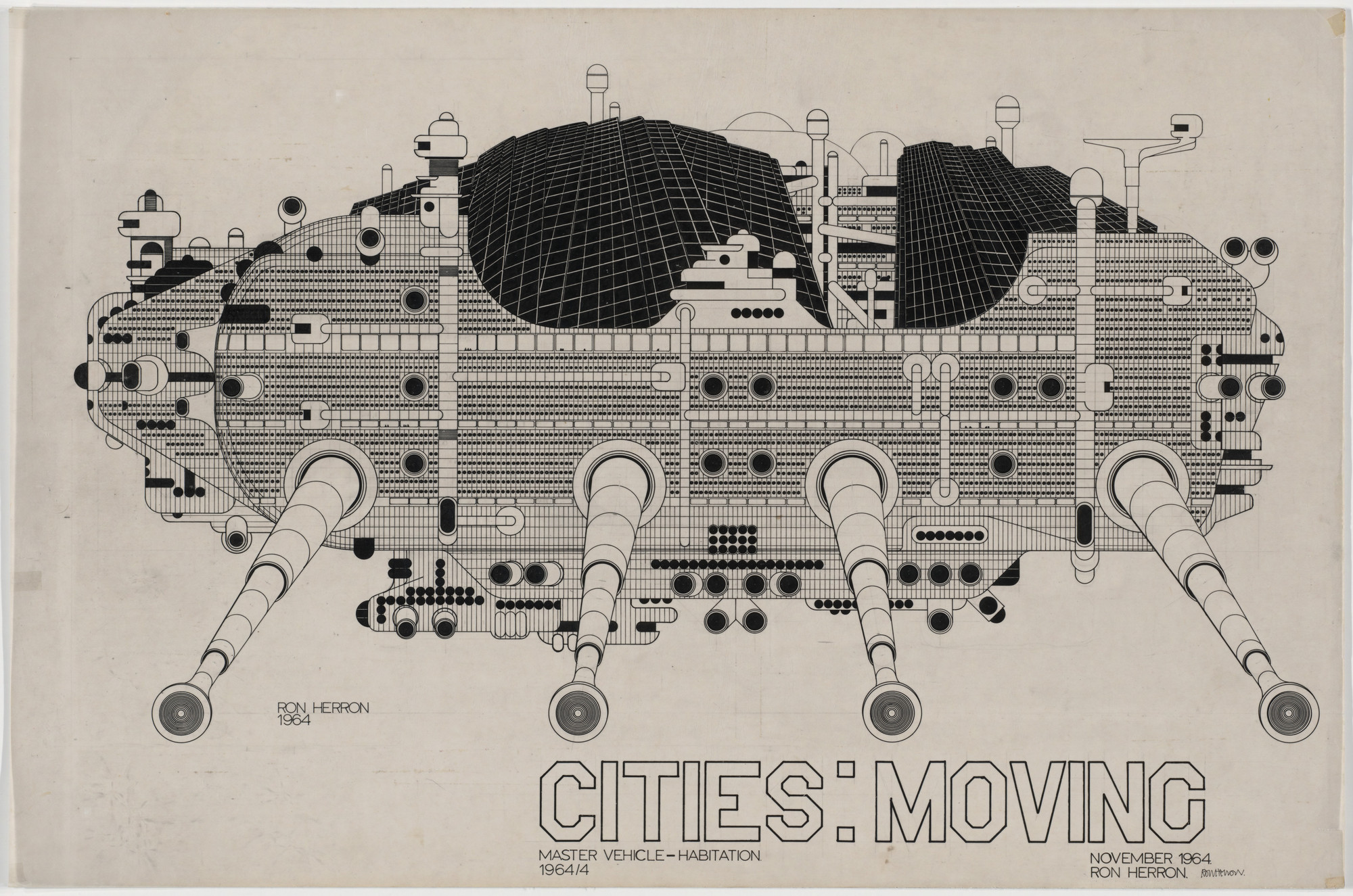 Ron Herron. Cities: Moving, Master Vehicle-Habitation Project, Aerial Perspective. 1964