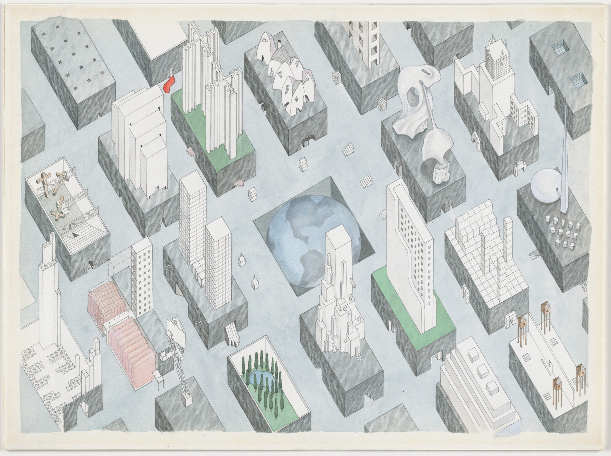 Rem Koolhaas, Madelon Vriesendorp. The City of the Captive Globe Project, New York, New York, Axonometric. 1972