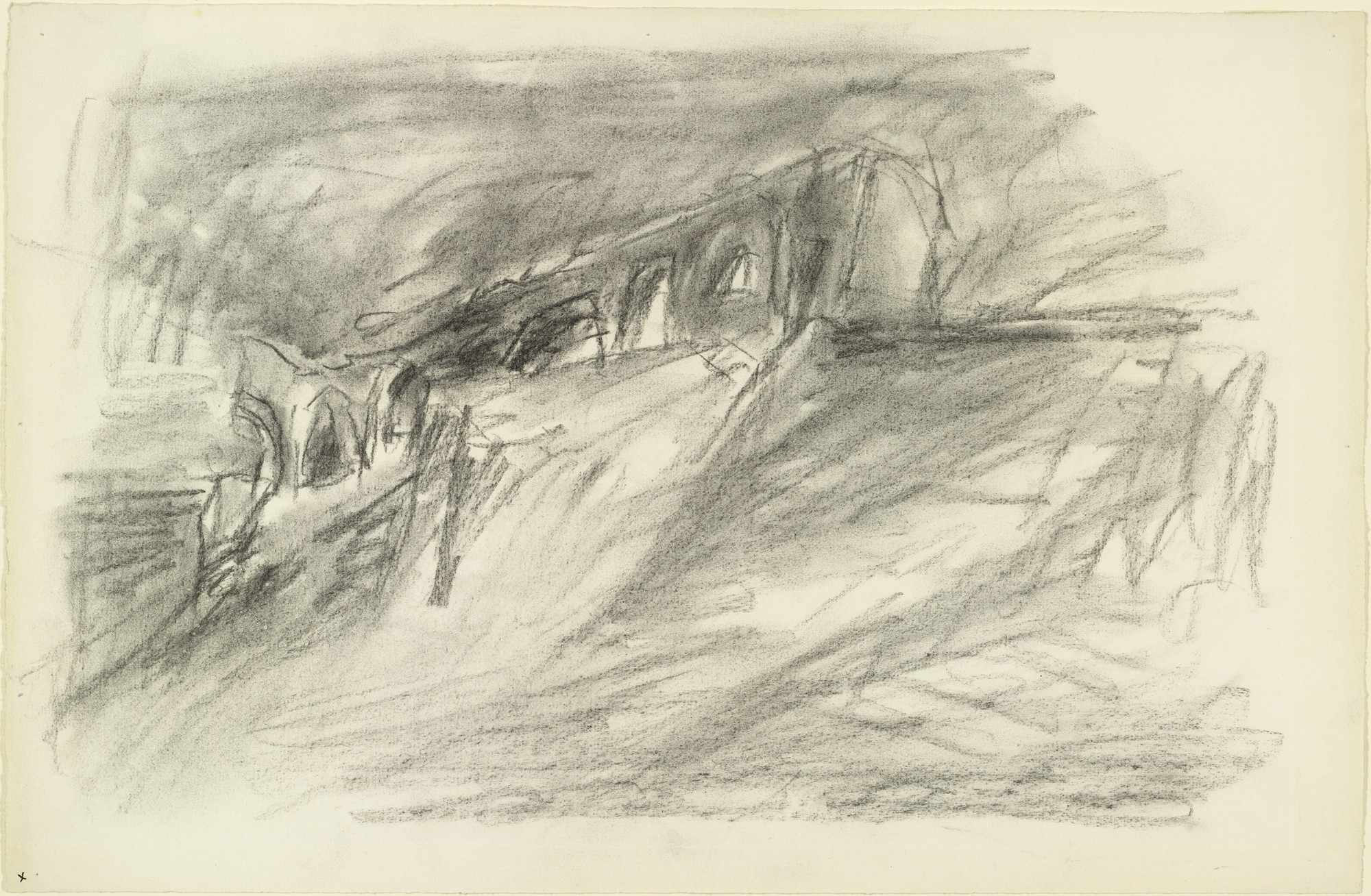Lyonel Feininger. Ruin on the Cliff. (1935)