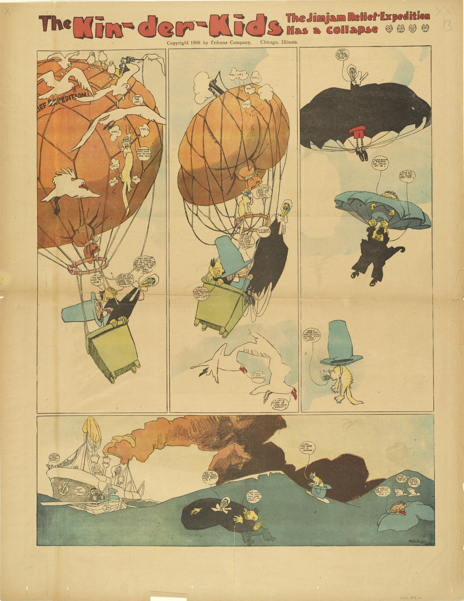 Lyonel Feininger. Kin-der-Kids: The Jimjam Expedition has a Collapse from The Chicago Sunday Tribune. (July 22) 1906