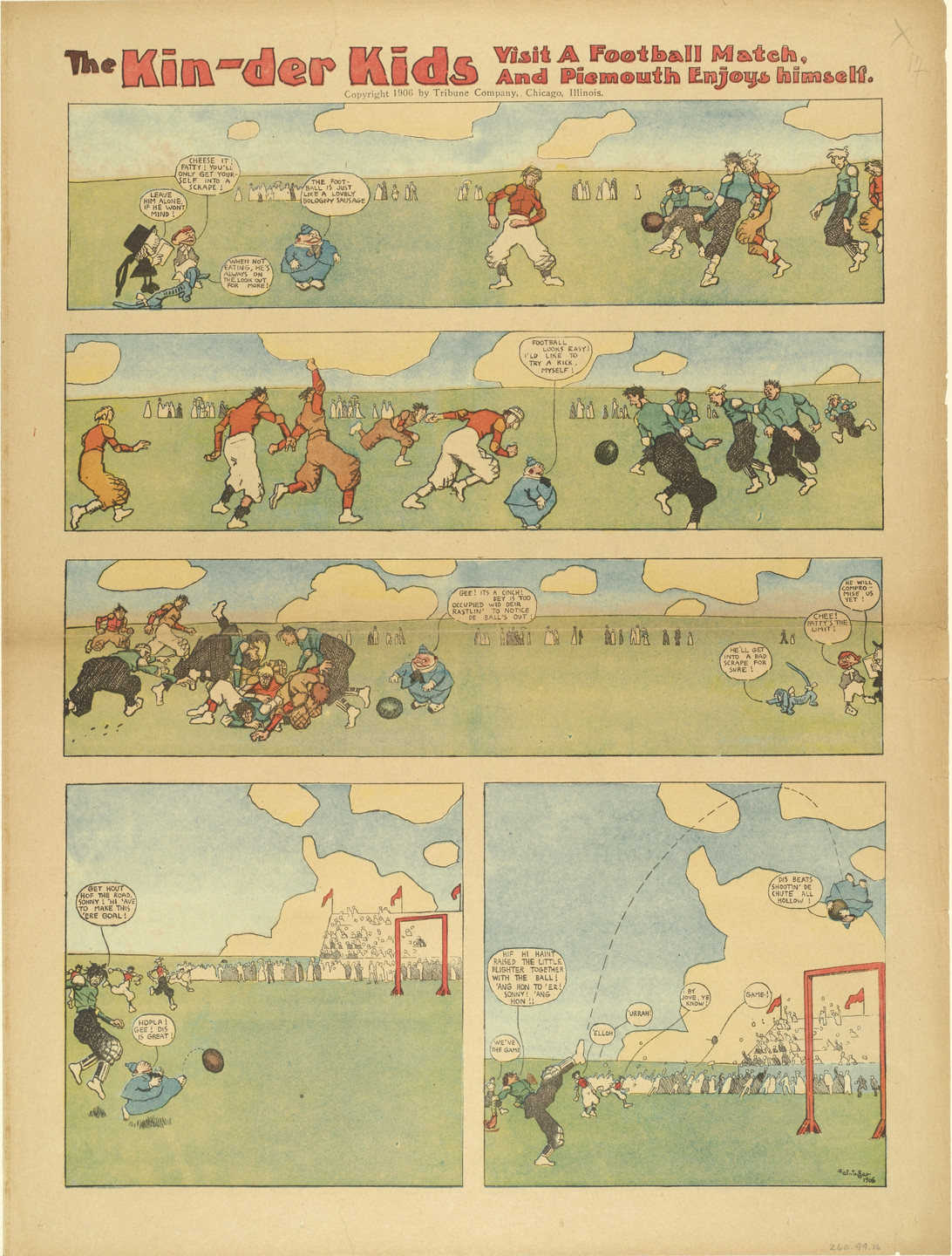 Lyonel Feininger. The Kin-der-Kids Visit a Football Match and Piemouth Enjoys Himself from The Chicago Sunday Tribune. (August 19) 1906