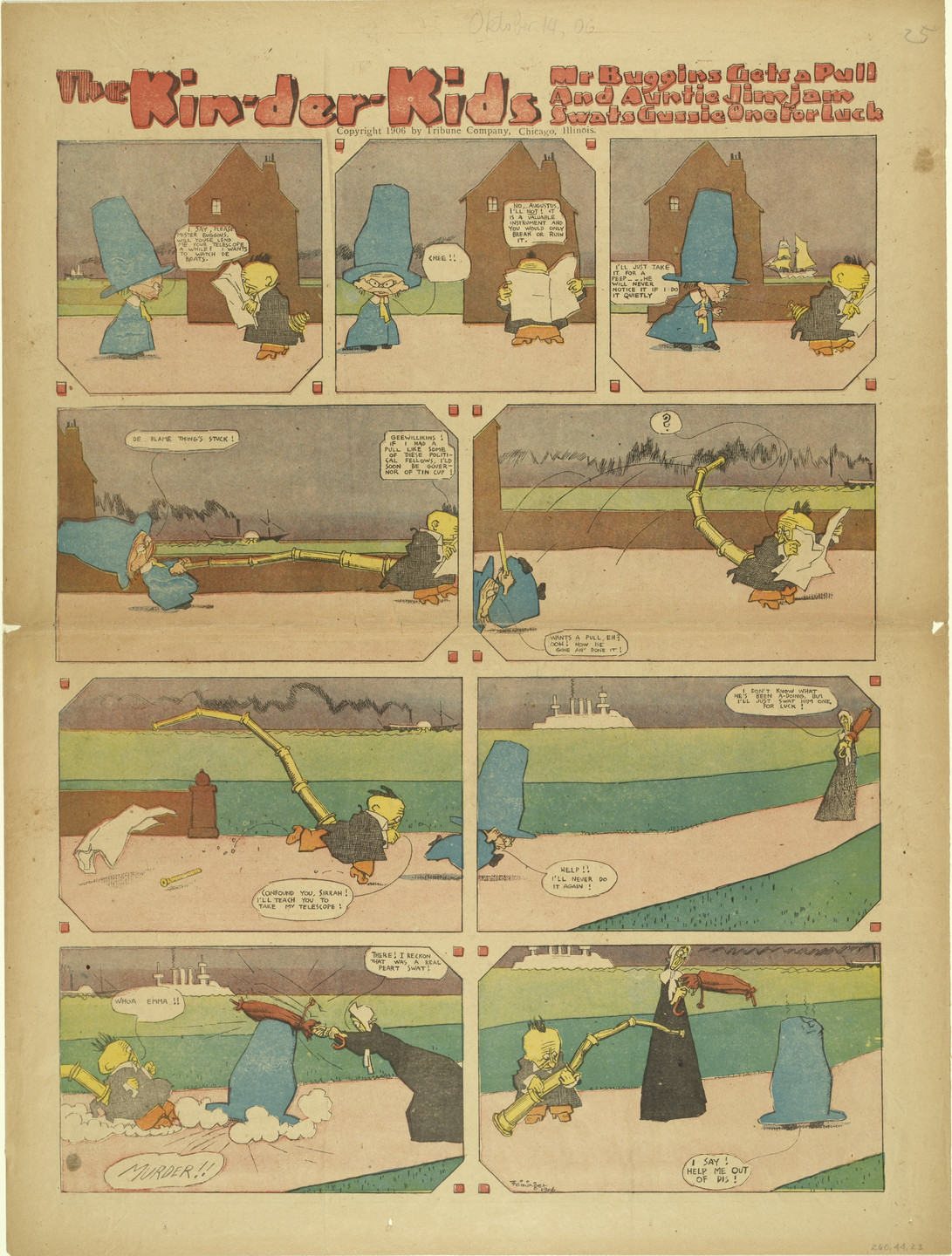 Lyonel Feininger. The Kin-der-Kids: Mr. Buggins Gets a Pull and Auntie Jimjam Swats Gussie One for Luck from The Chicago Sunday Tribune. (October 14) 1906