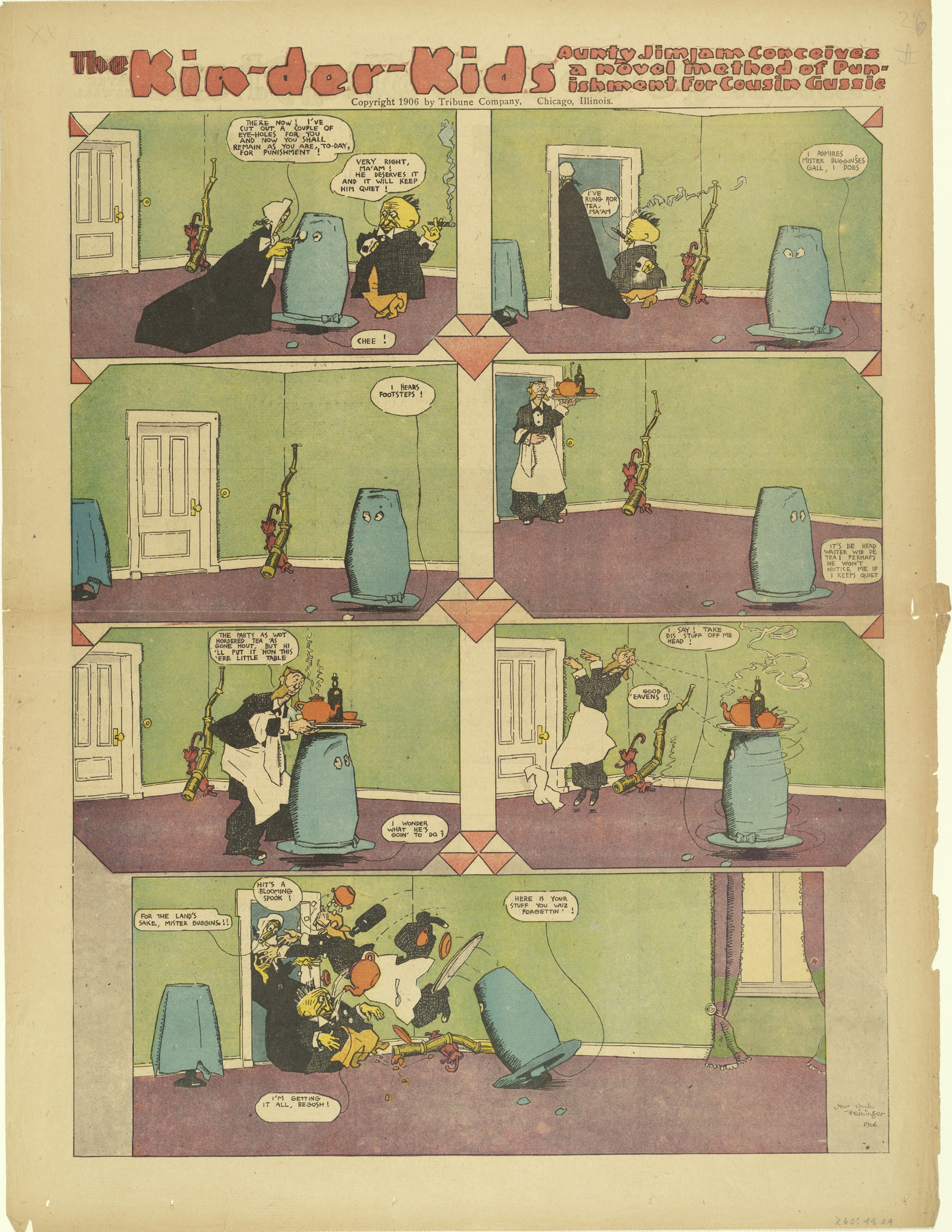 Lyonel Feininger. The Kin-der-Kids: Aunty Jimjam Conceives a Novel Method of Punishment for Cousin Gussie from The Chicago Sunday Tribune. (October 21) 1906