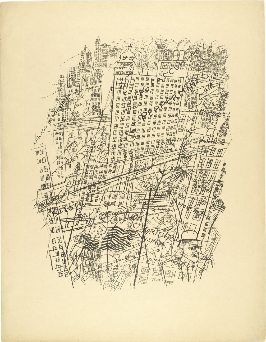 George Grosz. Memory of New York (Erinnerung an New York) from The First George Grosz Portfolio (Erste George Grosz-Mappe). (1915-16, published 1916-17)