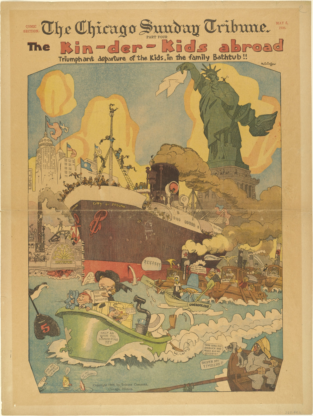 Lyonel Feininger. The Kin-der-Kids Abroad: Triumphant Departure of the Kids, in the Family Bathtub!! from The Chicago Sunday Tribune. May 6, 1906