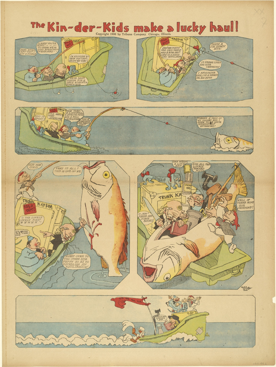 Lyonel Feininger. The Kin-der-Kids Make a Lucky Haul! from The Chicago Sunday Tribune. (June 10) 1906