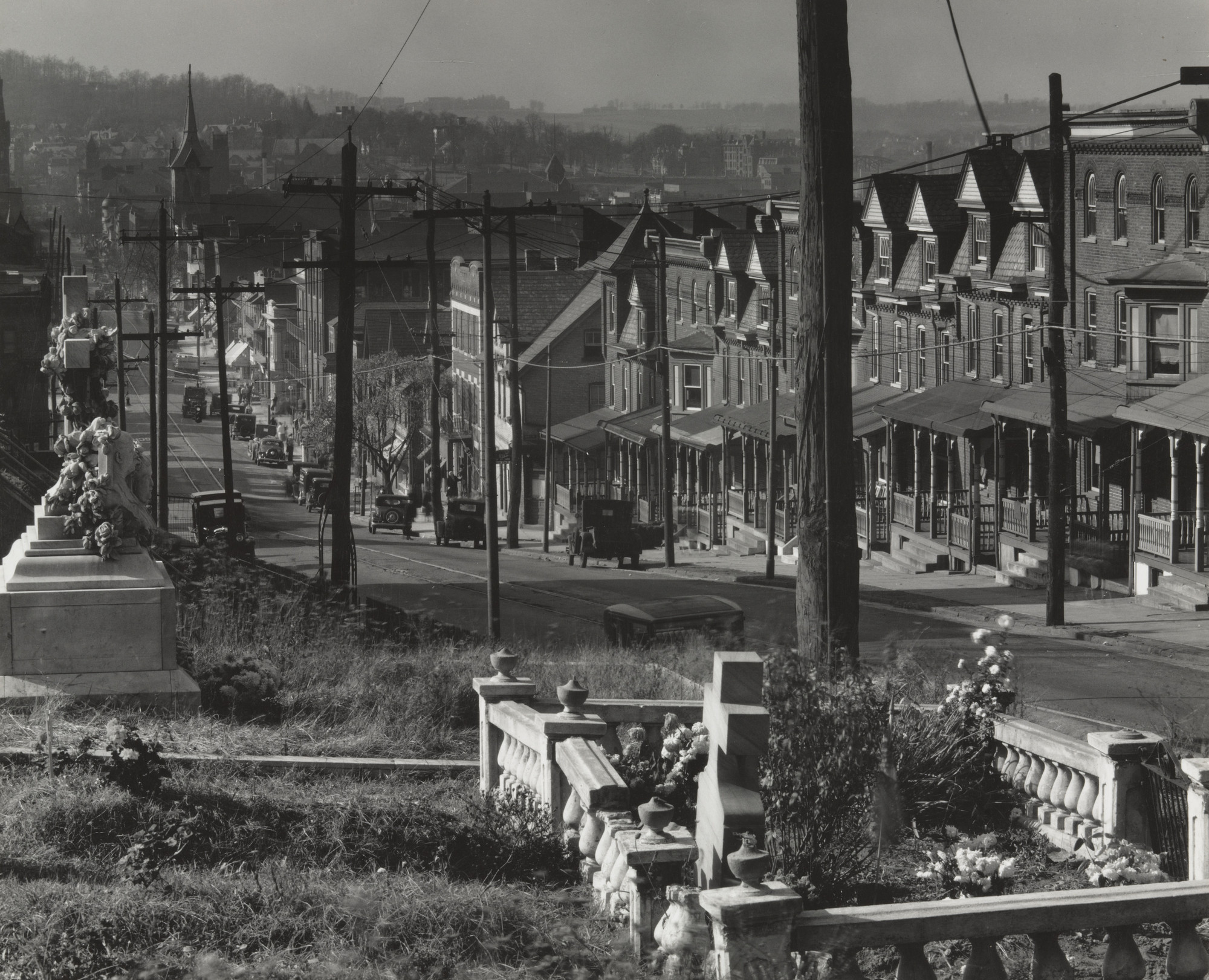 Walker Evans. Street and Graveyard in Bethlehem, Pennsylvania. 1936