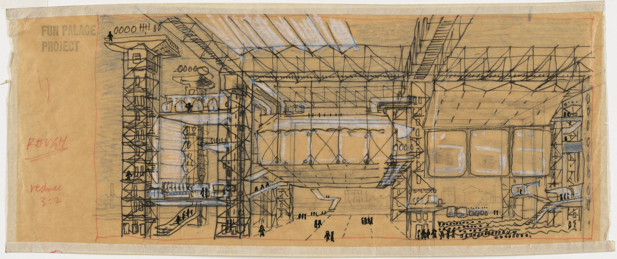 Cedric Price. Fun Palace for Joan Littlewood Project, Stratford East, London, England (Perspective). 1959–1961