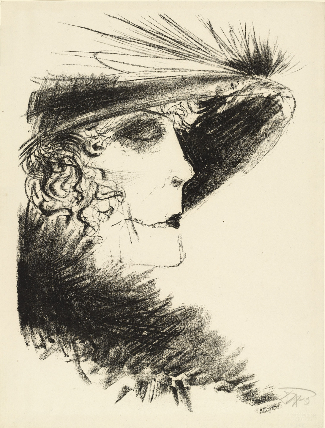 Otto Dix. Woman with Heron Feather (Dame mit Reiher) from the portfolio Die Schaffenden, vol. 5, no. 1. 1923