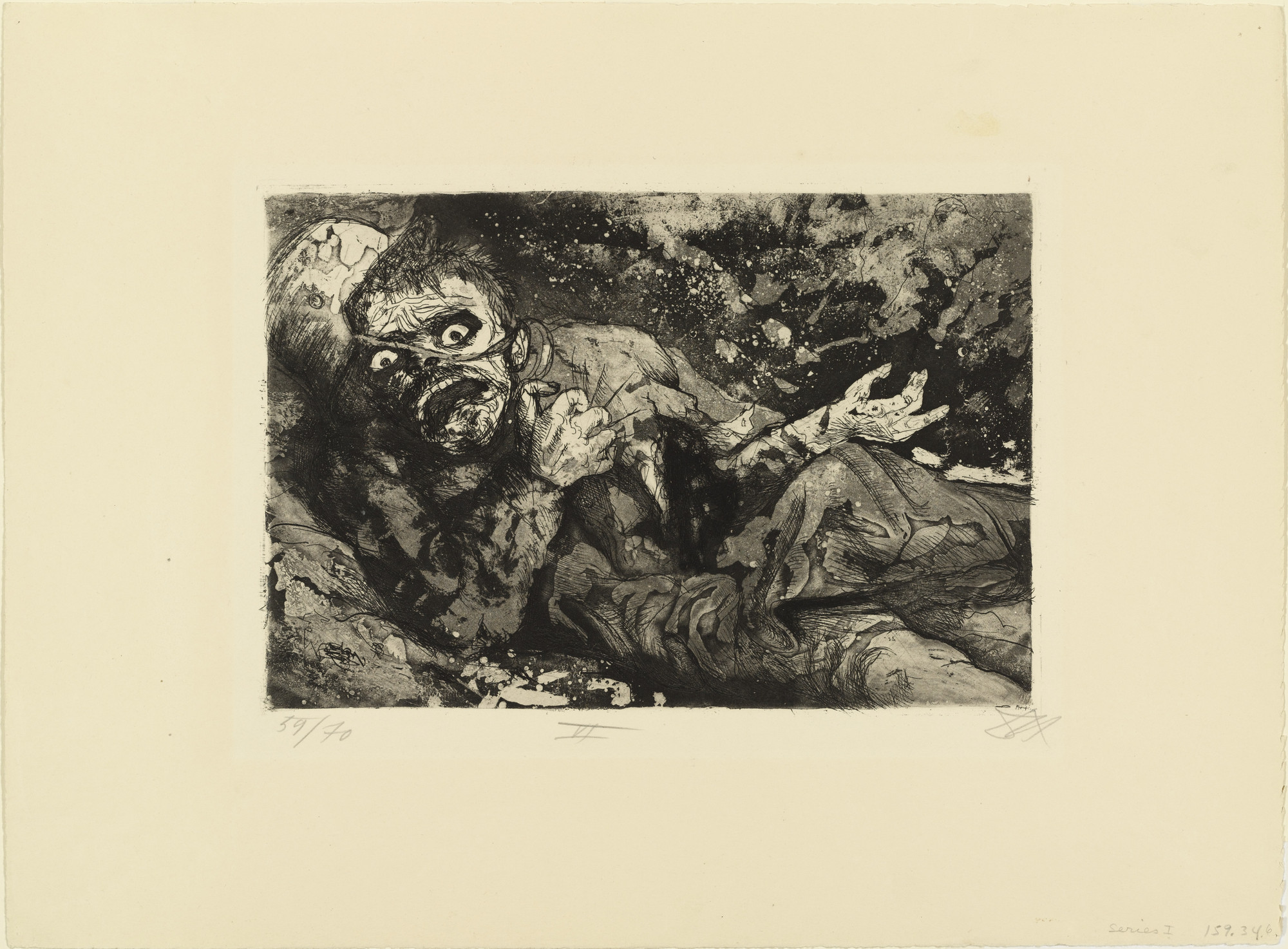 Otto Dix. Wounded Man (Autumn 1916, Bapaume) [Verwundeter (Herbst 1916, Bapaume)] _ from _The War (Der Krieg). (1924)