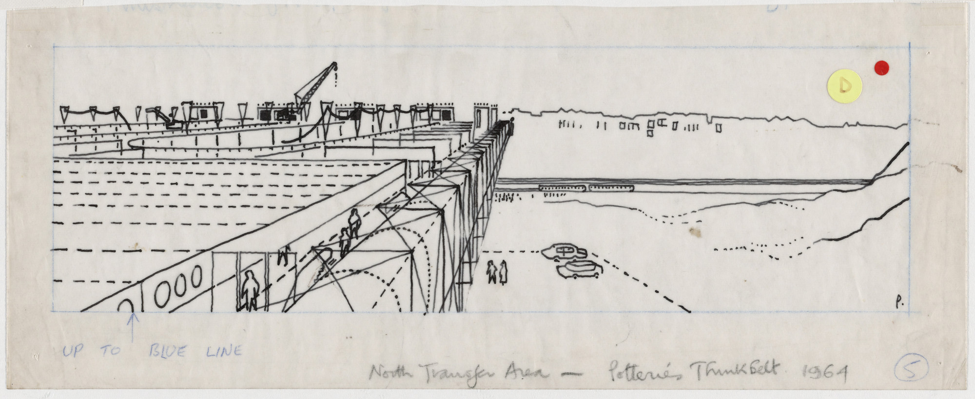 Cedric Price. Potteries Thinkbelt Project, Staffordshire, England (Perspective of Pitts Hill, North Transfer Area). 1964–1966