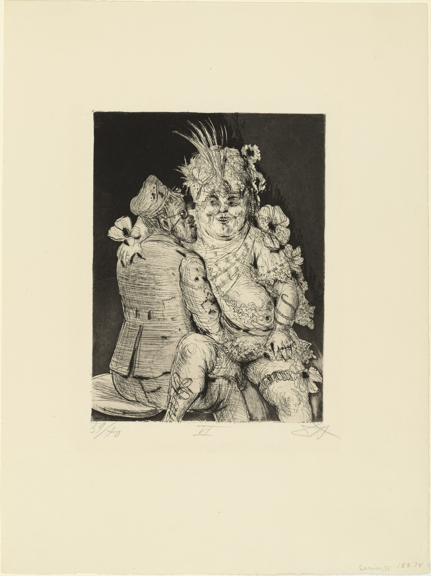 Otto Dix. Visit to Madame Germaine's in Méricourt (Besuch bei Madame Germaine in Méricourt) from The War (Der Krieg). (1924)