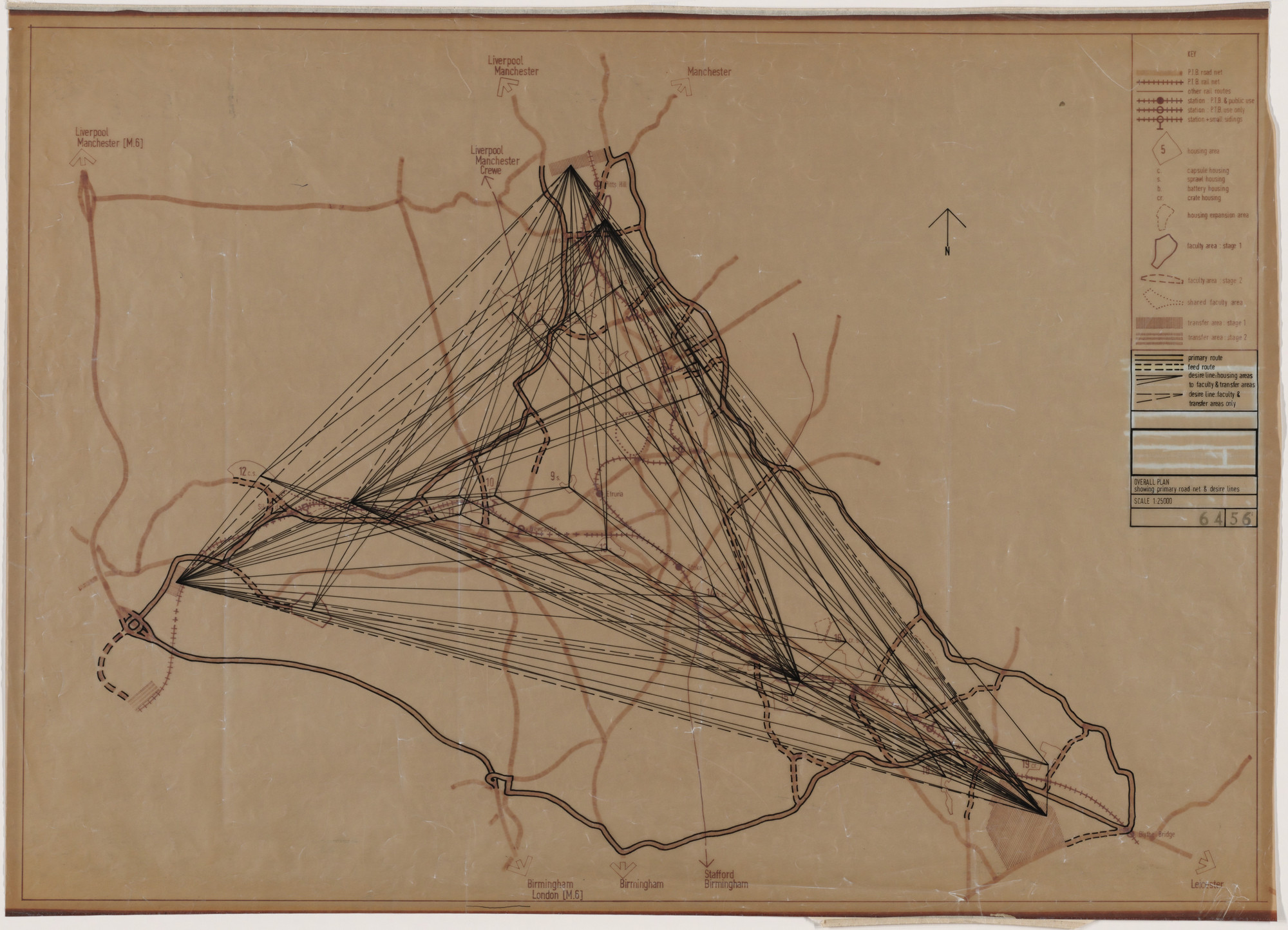 Cedric Price. Potteries Thinkbelt Project, Staffordshire, England (Plan of Desire Lines-Physical and Mental Exchange). 1964–1966