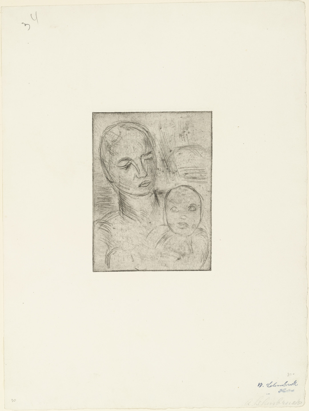 Wilhelm Lehmbruck. Mother and Child, Small (Mutter und Kind, klein). (1915, printed 1920)