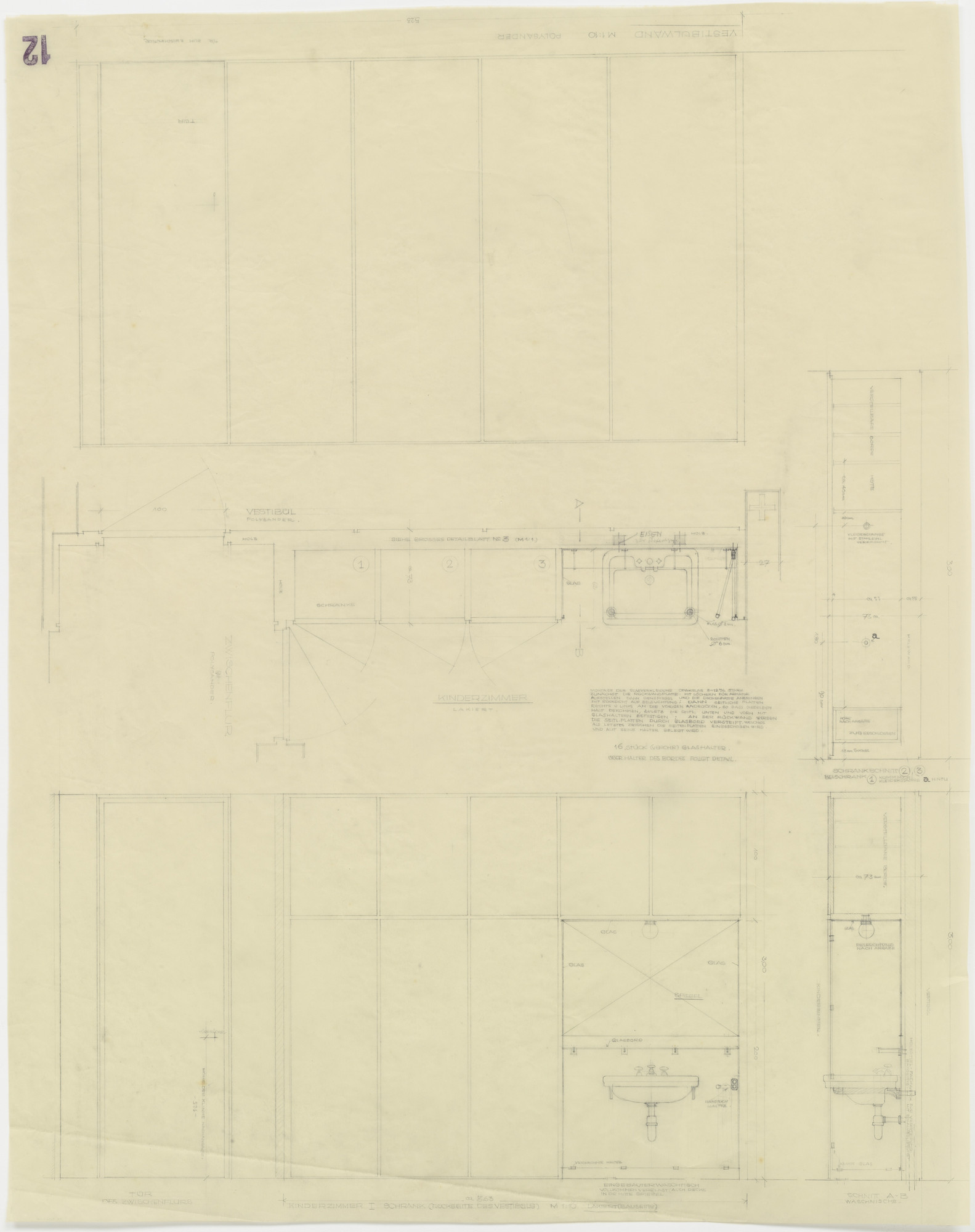 Ludwig Mies van der Rohe. Tugendhat House, Brno, Czech Republic, Storage wall with built-in sink between children's room and vestibule. Plan, elevations, sections.. 1928–1930