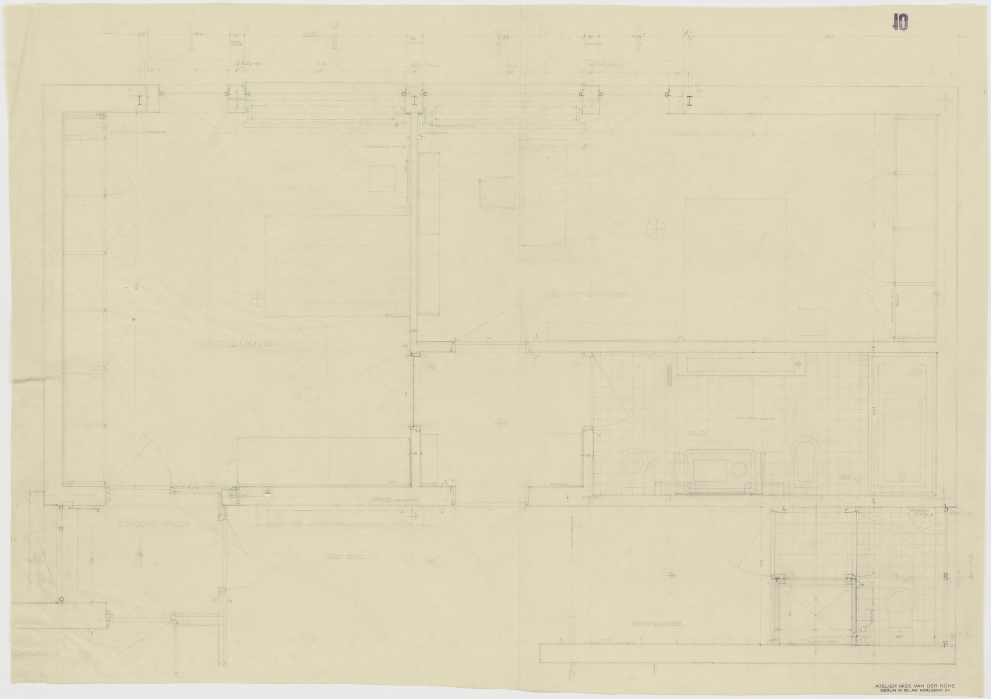 Ludwig Mies van der Rohe. Tugendhat House, Brno, Czech Republic, Master bedroom, lady's bedroom, two bathrooms. Plan.. 1928–1930