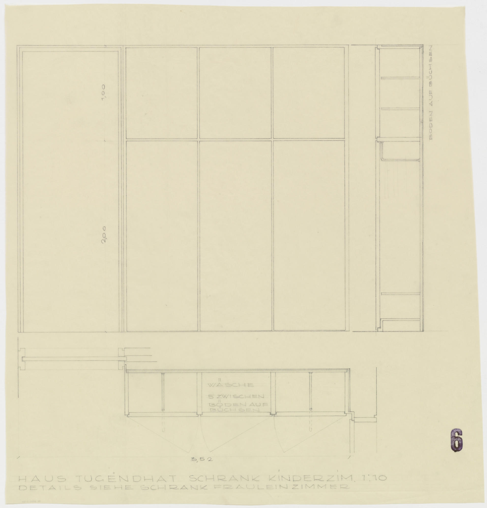 Ludwig Mies van der Rohe. Tugendhat House, Brno, Czech Republic, Children's room closet. Plan, section, elevation.. 1928-30
