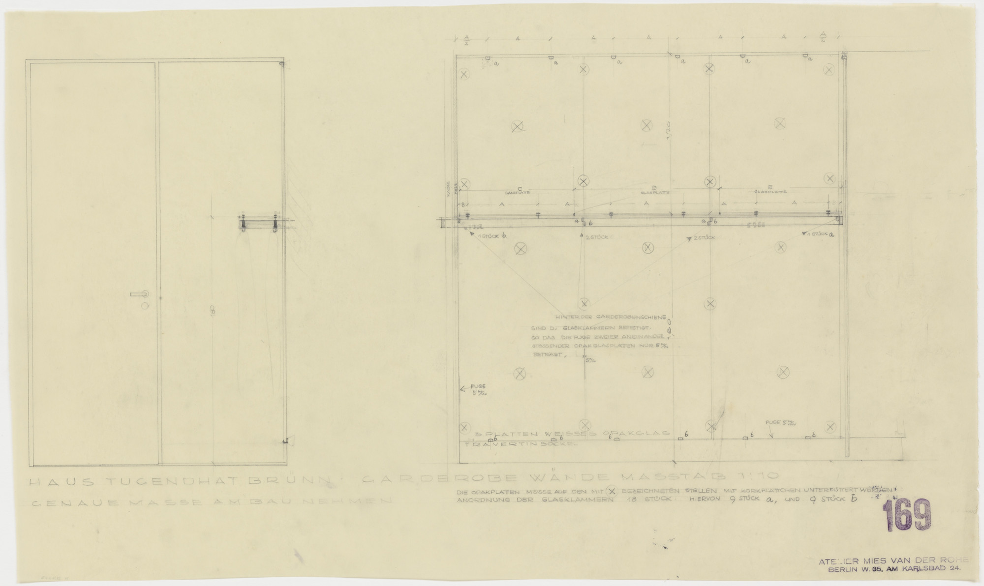 Ludwig Mies van der Rohe. Tugendhat House, Brno, Czech Republic (Wardrobe walls. Elevation, section.). 1928–1930