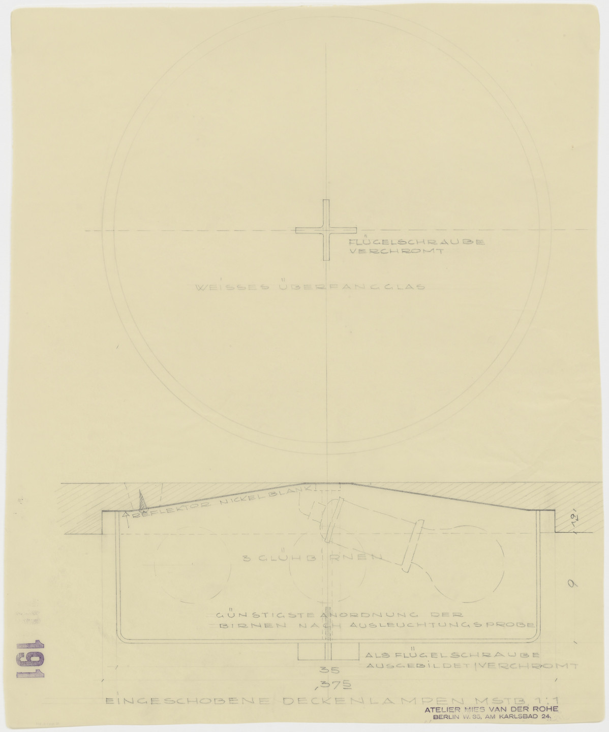 Ludwig Mies van der Rohe. Tugendhat House, Brno, Czech Republic (Recessed ceiling lamp. Two sections.). 1928–1930