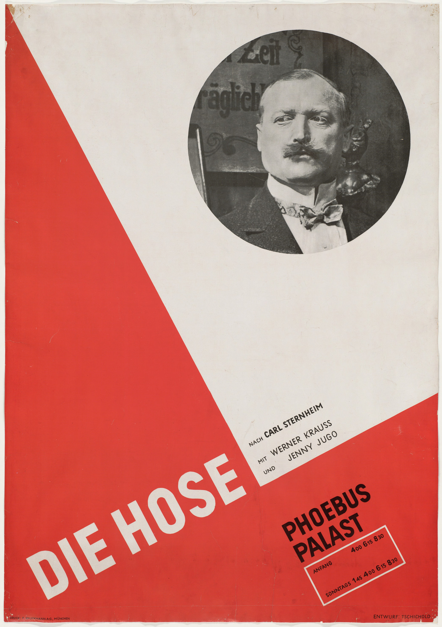 Jan Tschichold. Die Hose (the Trousers) at Phoebus Palast (Poster for the film directed by Hans Behrendt, based on the play by Carl Sternheim). 1927
