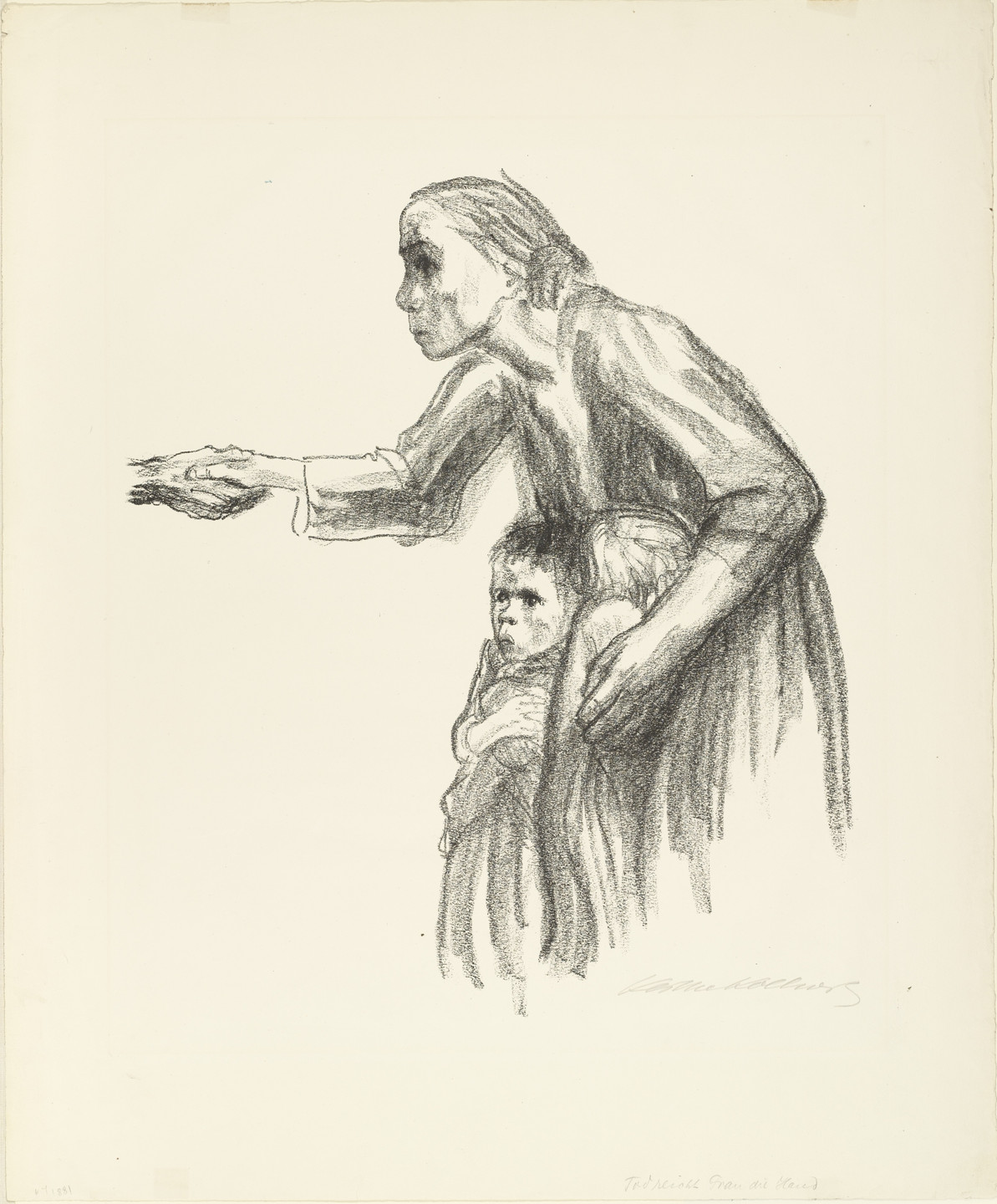 Käthe Kollwitz. Woman Entrusts Herself to Death (Frau vertraut sich dem Tode an) from the series Death (Tod). 1934