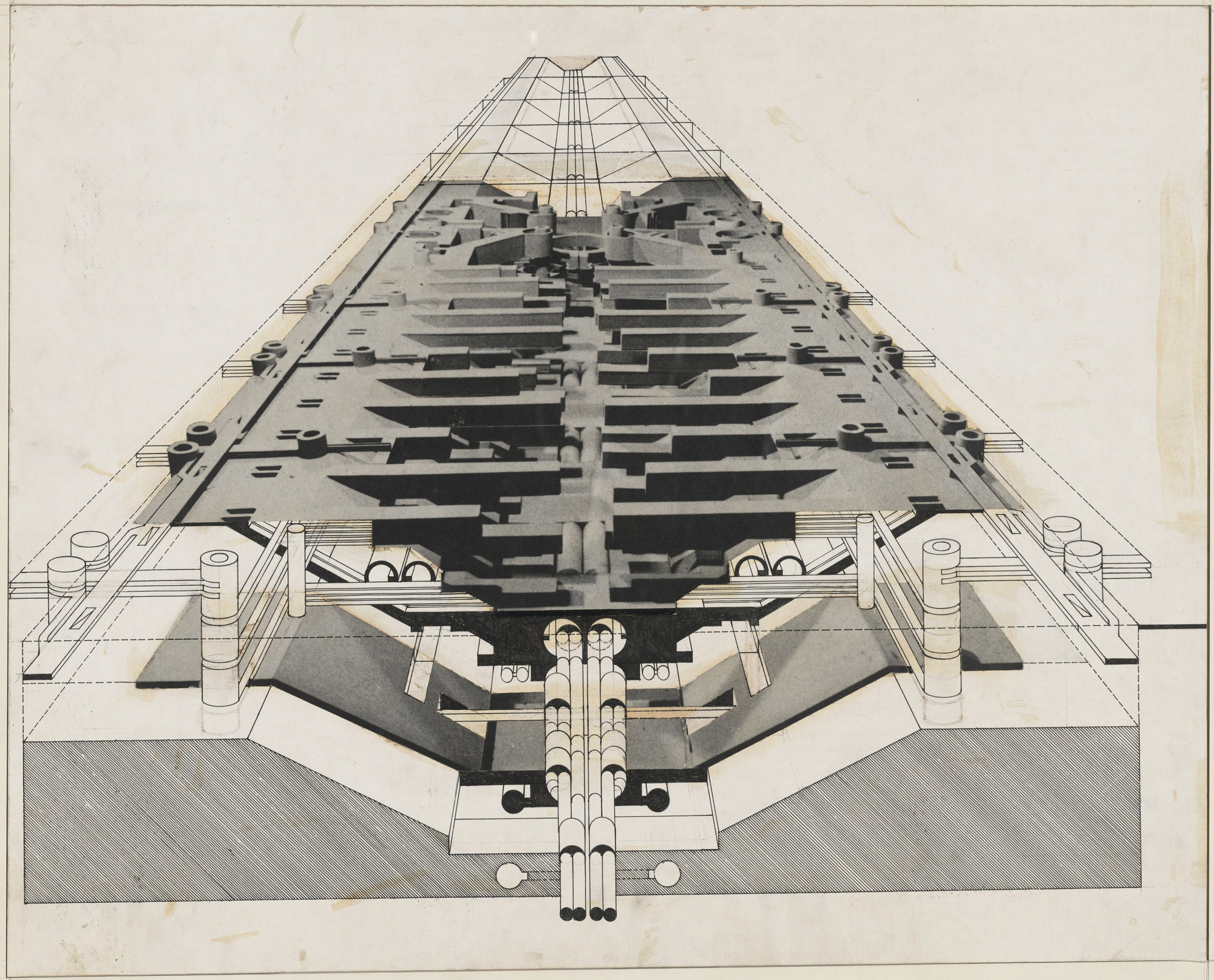 Raimund Abraham. Universal City, project, Sectional perspective. 1966
