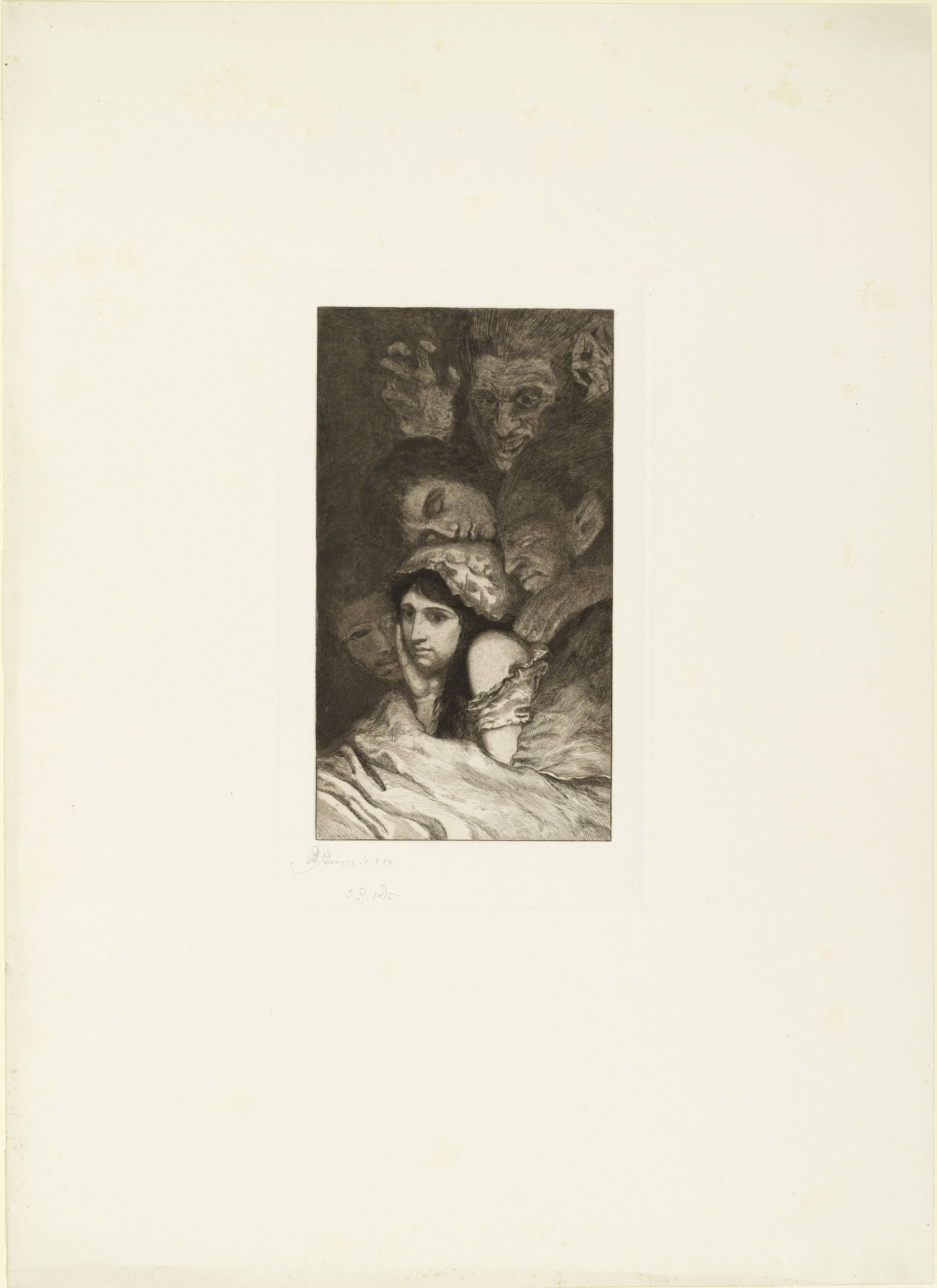 Max Klinger. Dreams (Träume) (plate 3) for the portfolio A Life, Opus VIII (Ein Leben, Opus VIII). 1884 (executed 1883, first published 1884)