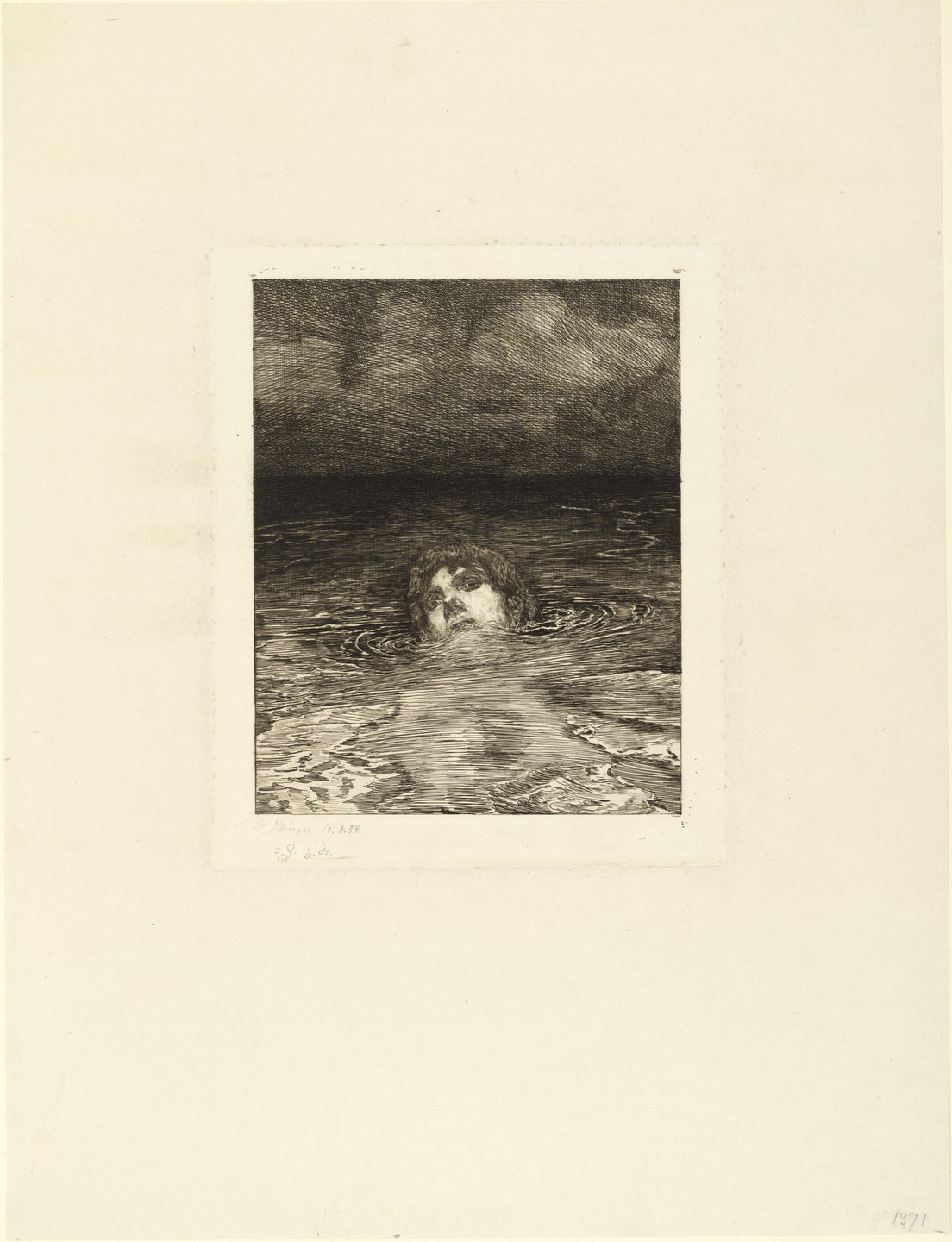 Max Klinger. Going Under Going Under (rejected plate) for the supplementary suite accompanying the portfolio A Life, Opus VIII. 1884