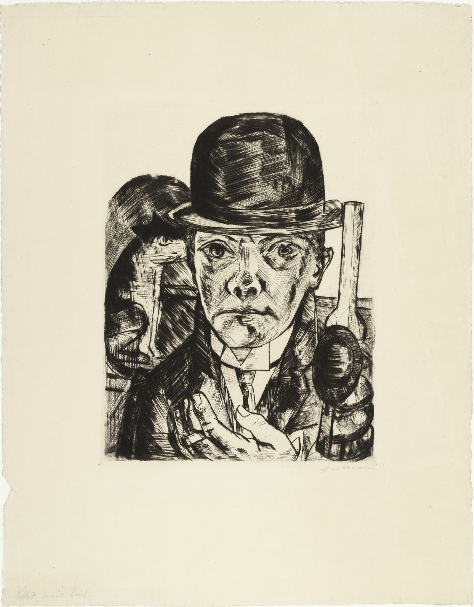Max Beckmann. Self-Portrait in Bowler Hat (Selbstbildnis mit steifem Hut). (1921, published not before 1922)