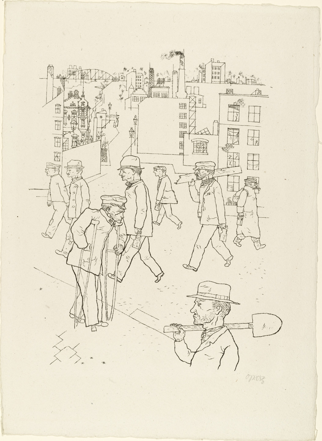 George Grosz. War Invalid and Workers from In the Shadows (Im Schatten). c. 1920, published 1921