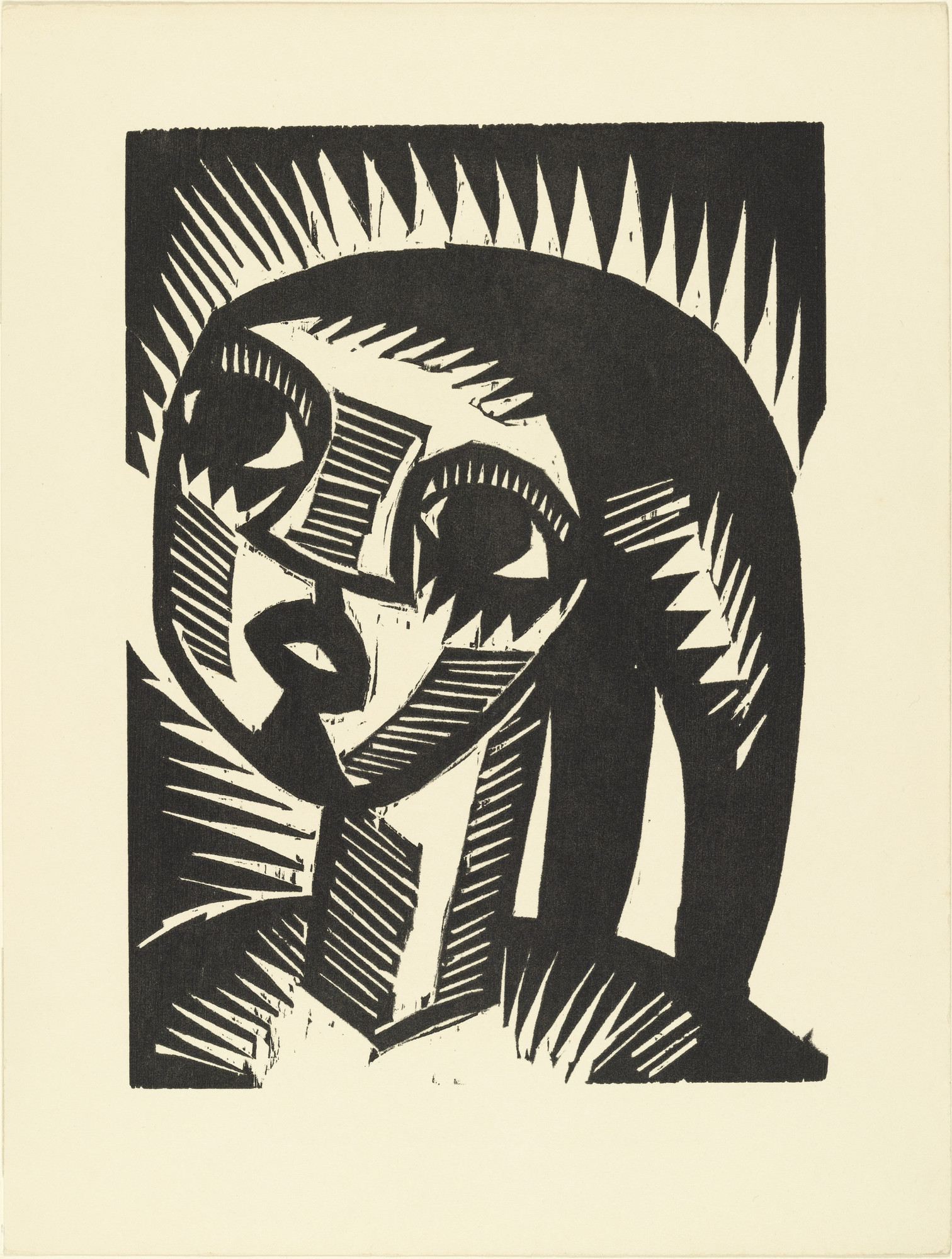 Karl Schmidt-Rottluff. Girl with Braids (Mädchen mit Zöpfen) (plate, loose leaf) from the periodical Das Kunstblatt, vol. 2, no. 2 (Feb 1918). 1918 (executed 1917)