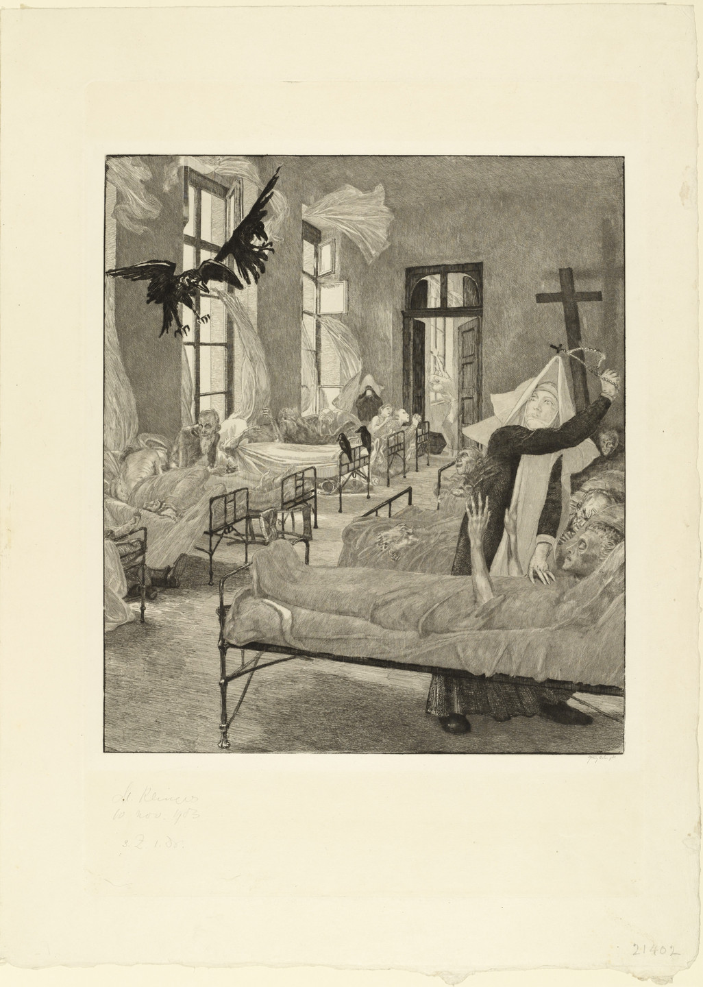Max Klinger. Plague (Pest) (plate 5) for the portfolio On Death, Part II, Opus XIII (Vom Tode, Zweiter Teil, Opus XIII). 1903 (published 1904)