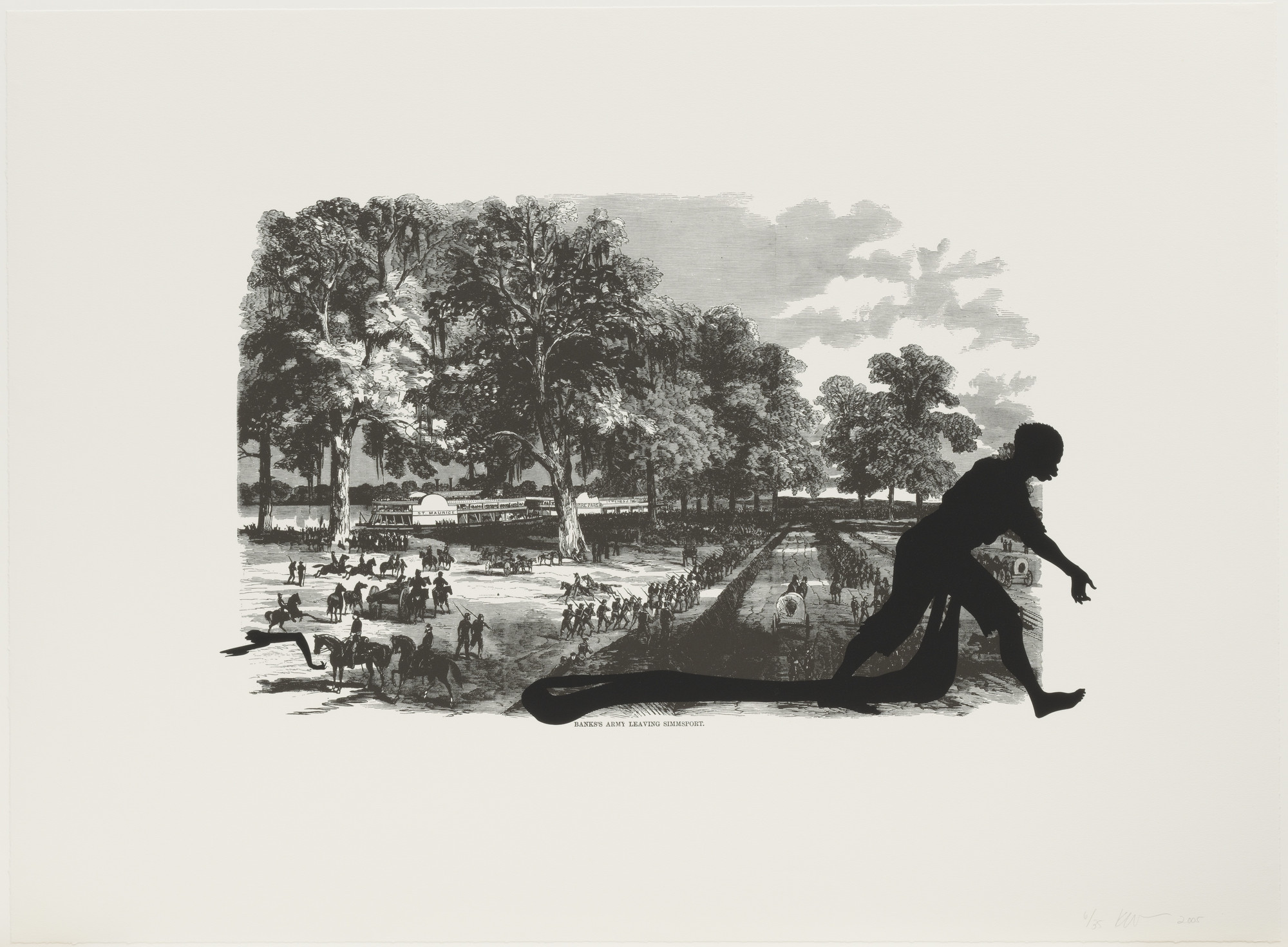 Kara Walker. Banks's Army Leaving Simmsport from Harper's Pictorial History of the Civil War (Annotated). 2005