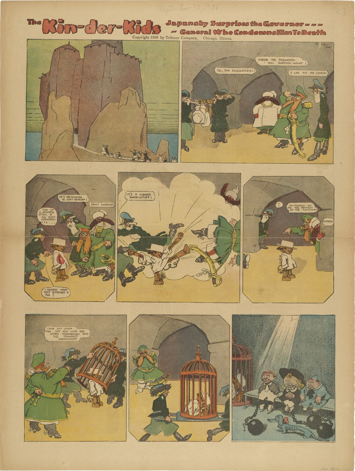 Lyonel Feininger. The Kin-der-Kids: Japansky Surprises the Governor General who Condemns him to Death from The Chicago Sunday Tribune. (September 30) 1906