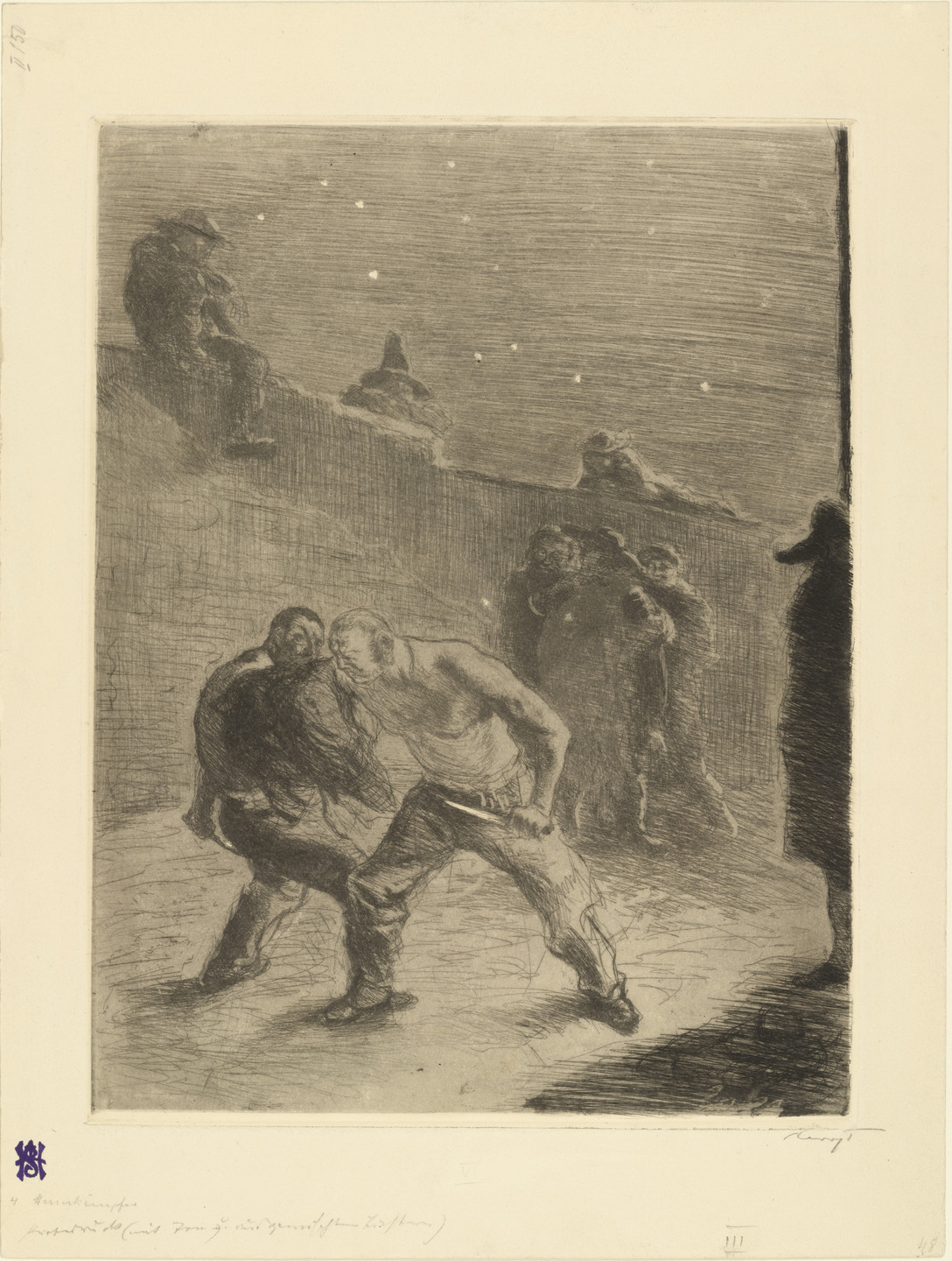 Max Slevogt. Duel (Zweikampf) (plate 5) for the portfolio Black Scenes (Schwarze Szenen). 1904 (published 1905)
