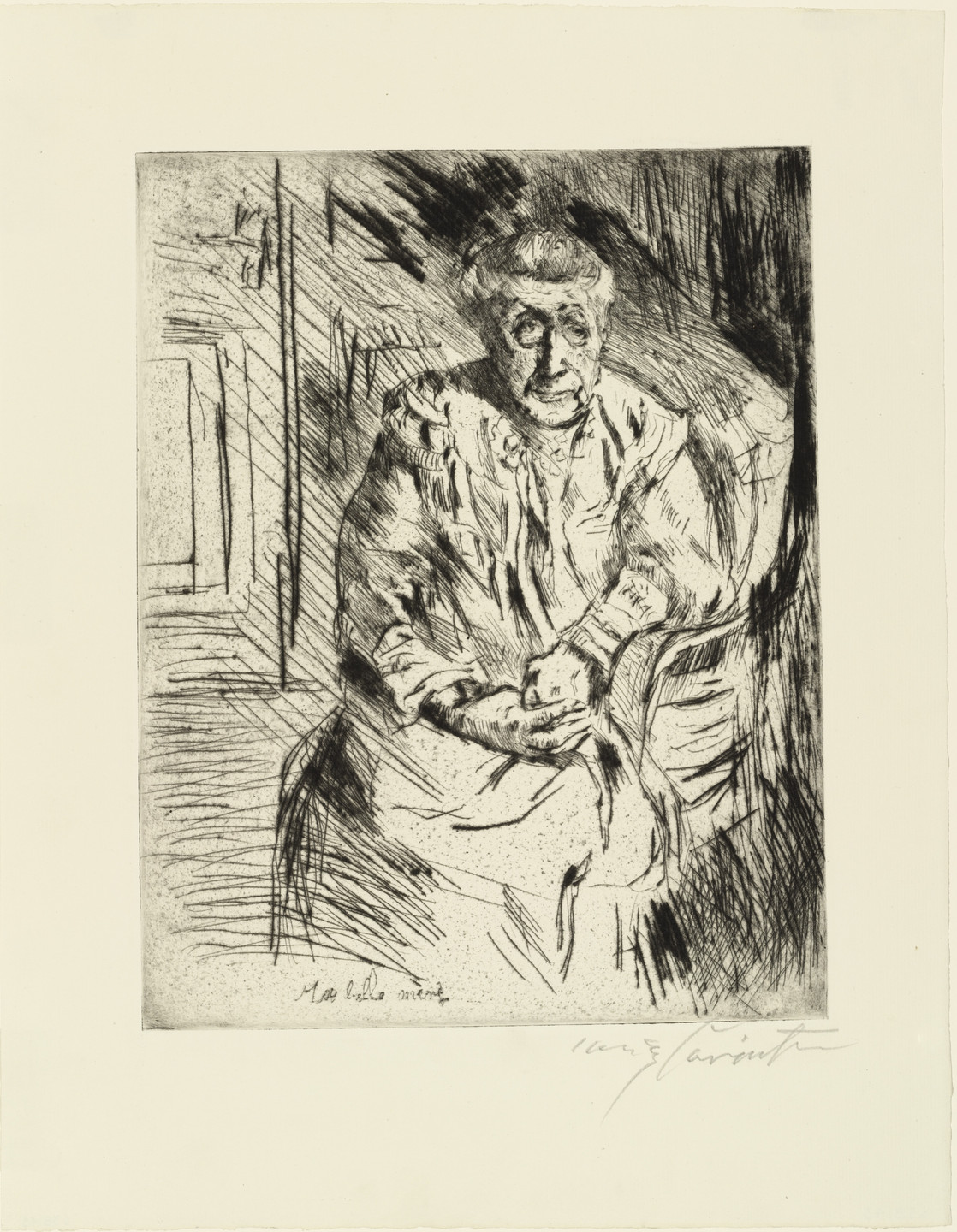 Lovis Corinth. My Mother-in-Law (Ma belle mère) from the portfolio At the Corinthians (Bei den Corinthern). (1919)