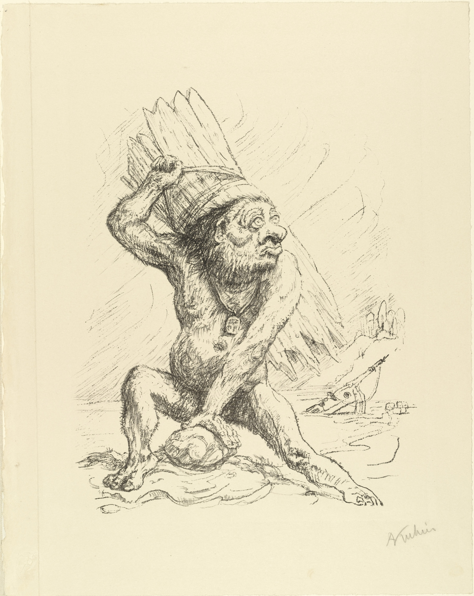 Alfred Kubin. Caliban from the portfolio Visions of Shakespeare (Shakespeare Visionen). (1918)