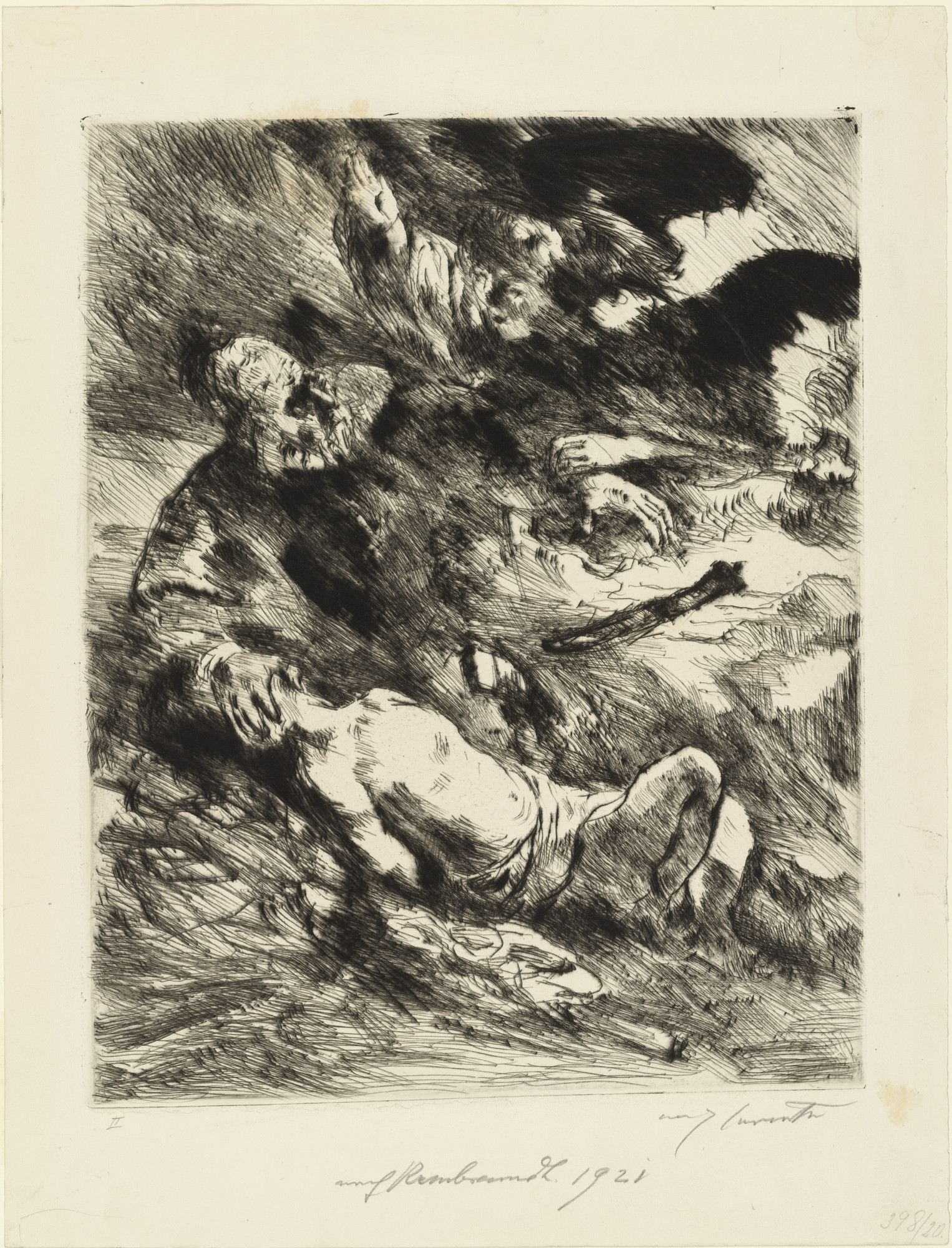 Lovis Corinth. The Sacrifice of Isaac: After Rembrandt (Die Opferung Isaacs: Nach Rembrandt). (1920), dated 1921