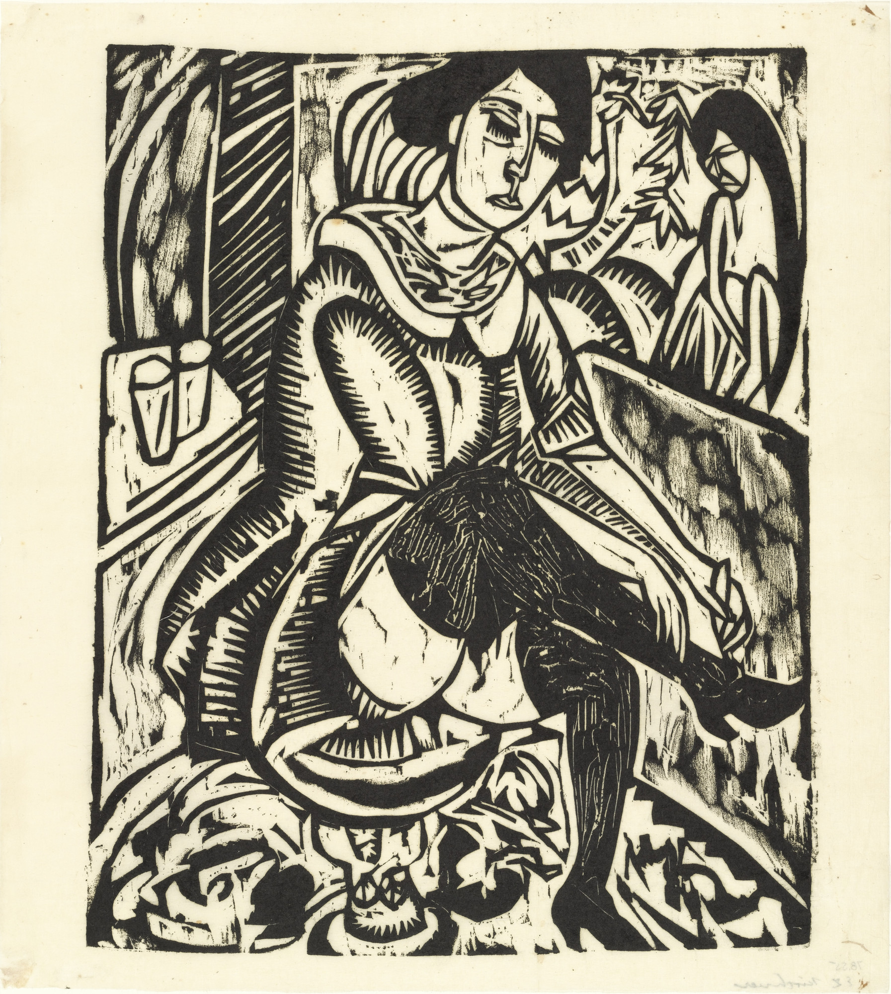 Ernst Ludwig Kirchner. Woman Buttoning Her Shoe (Frau, Schuh zuknöpfend). (1912, published 1913)