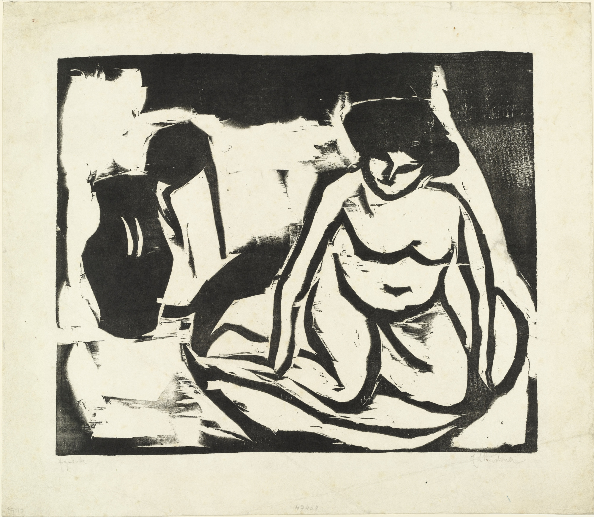 Ernst Ludwig Kirchner. Nude Girl in the Bath (Nacktes Mädchen im Bad). (1909)