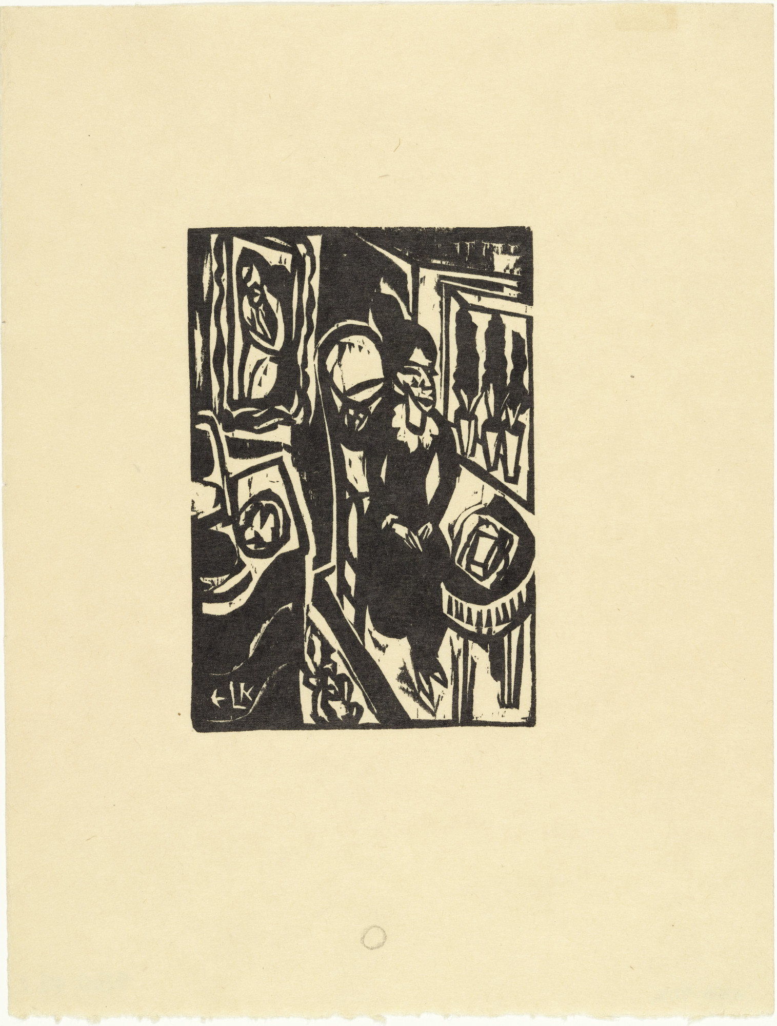 Ernst Ludwig Kirchner. Canoness at the Sewing Table (Stiftsfräulein am Nähtisch) from the illustrated book Das Stiftsfräulein und der Tod (The Canoness and Death). (1912, published 1913)