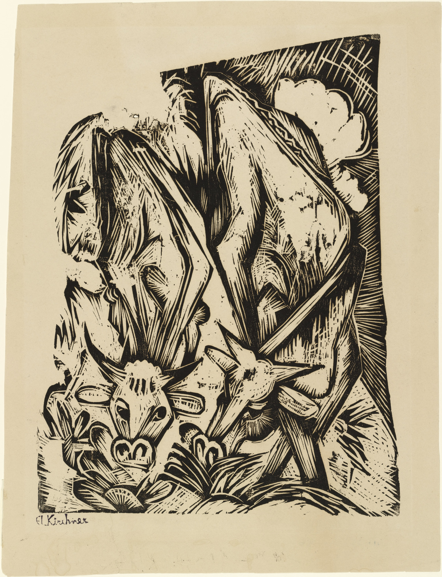 Ernst Ludwig Kirchner. Two Grazing Cows (Zwei grasende Kühe). (1918)