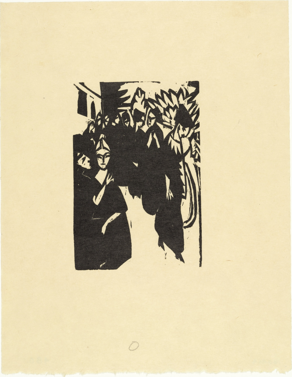 Ernst Ludwig Kirchner. Canoness in the Garden (Das Stiftsfräulein im Garten) from the illustrated book Das Stiftsfräulein und der Tod (The Canoness and Death). (1912, published 1913)